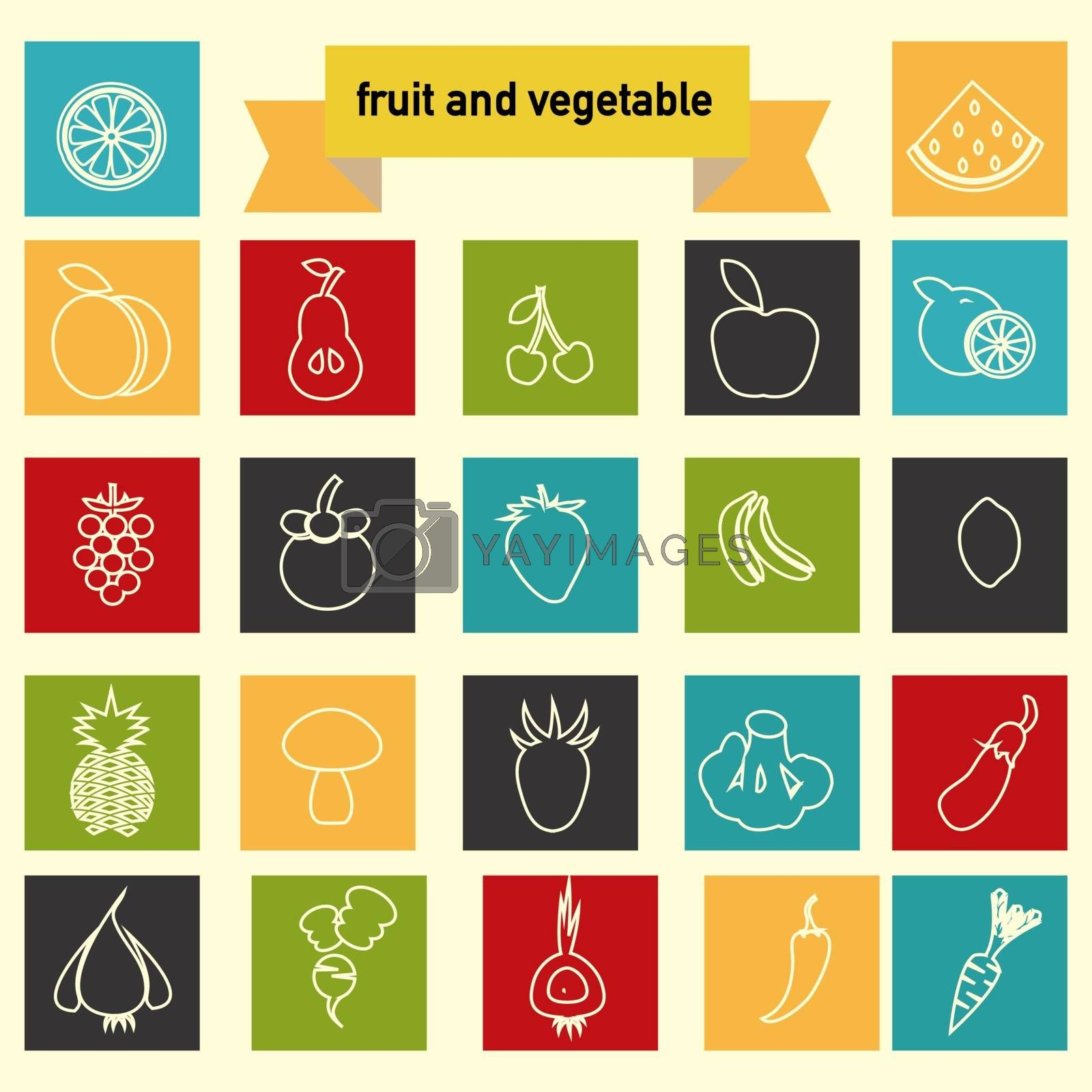 Vector  icon set with Healthy Food ,Vegetables and fruits Eco Food linear