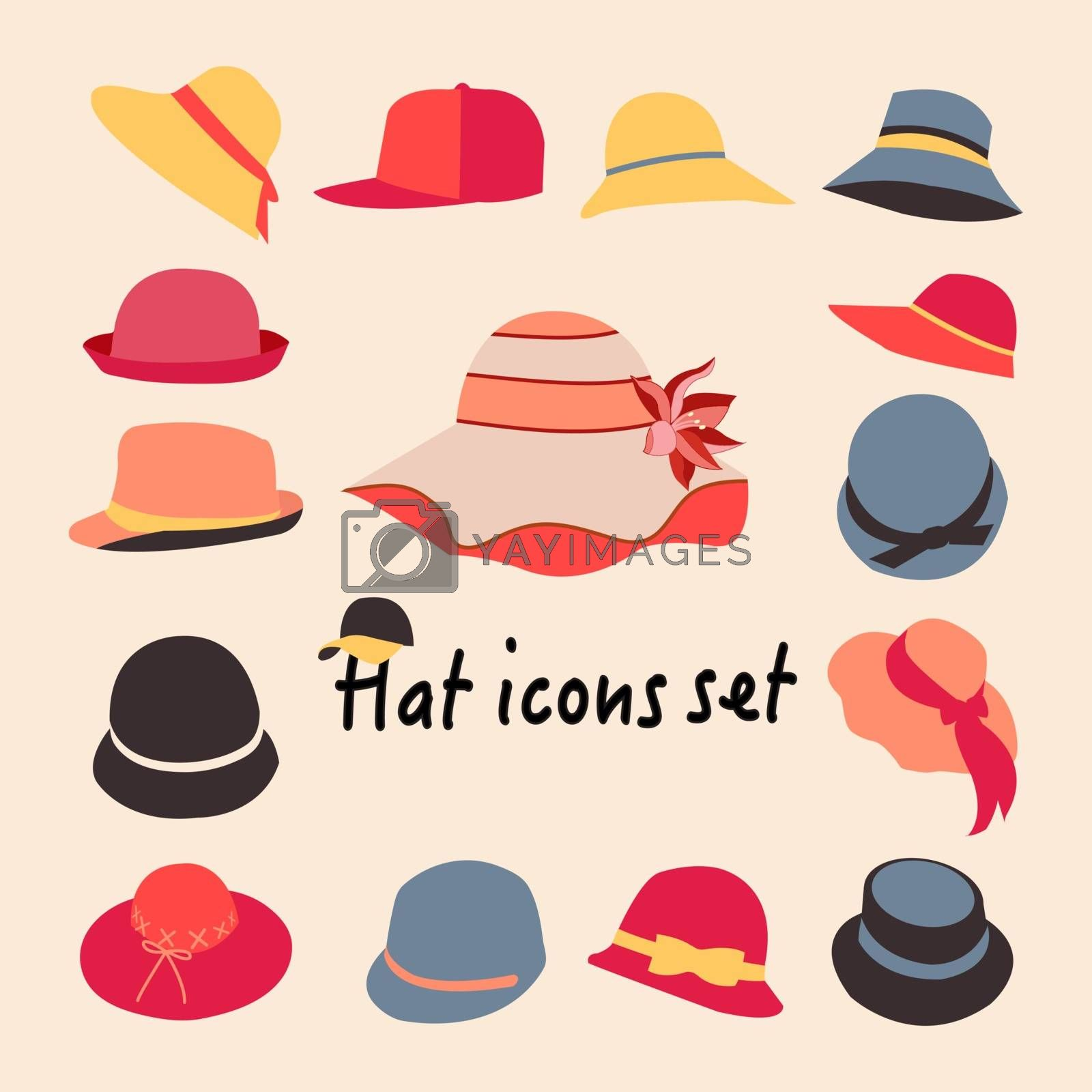 Vector collection of hats for men and women icons set, different types of hats