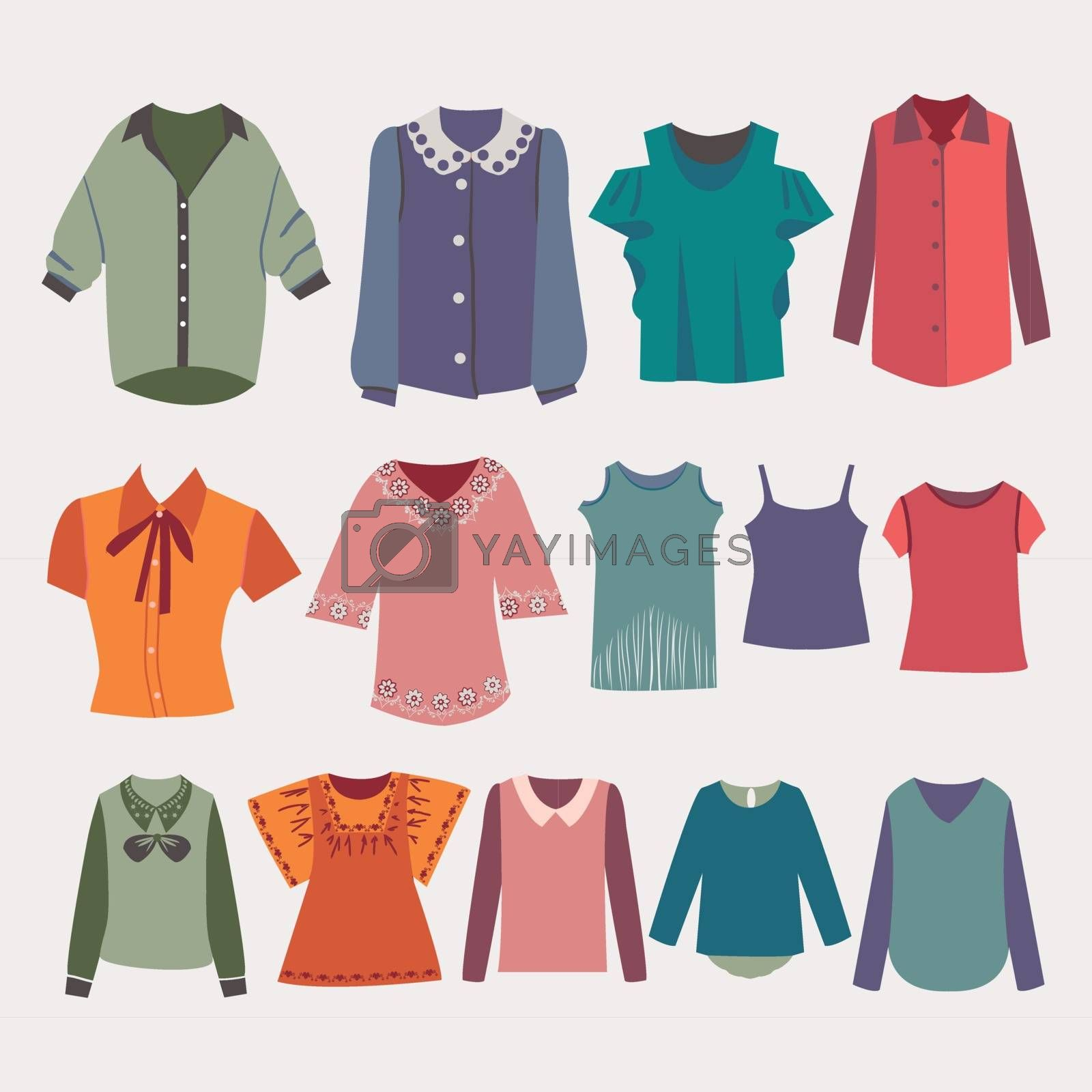 Vector fashion women's shirts and colorful female t-shirts for you design.