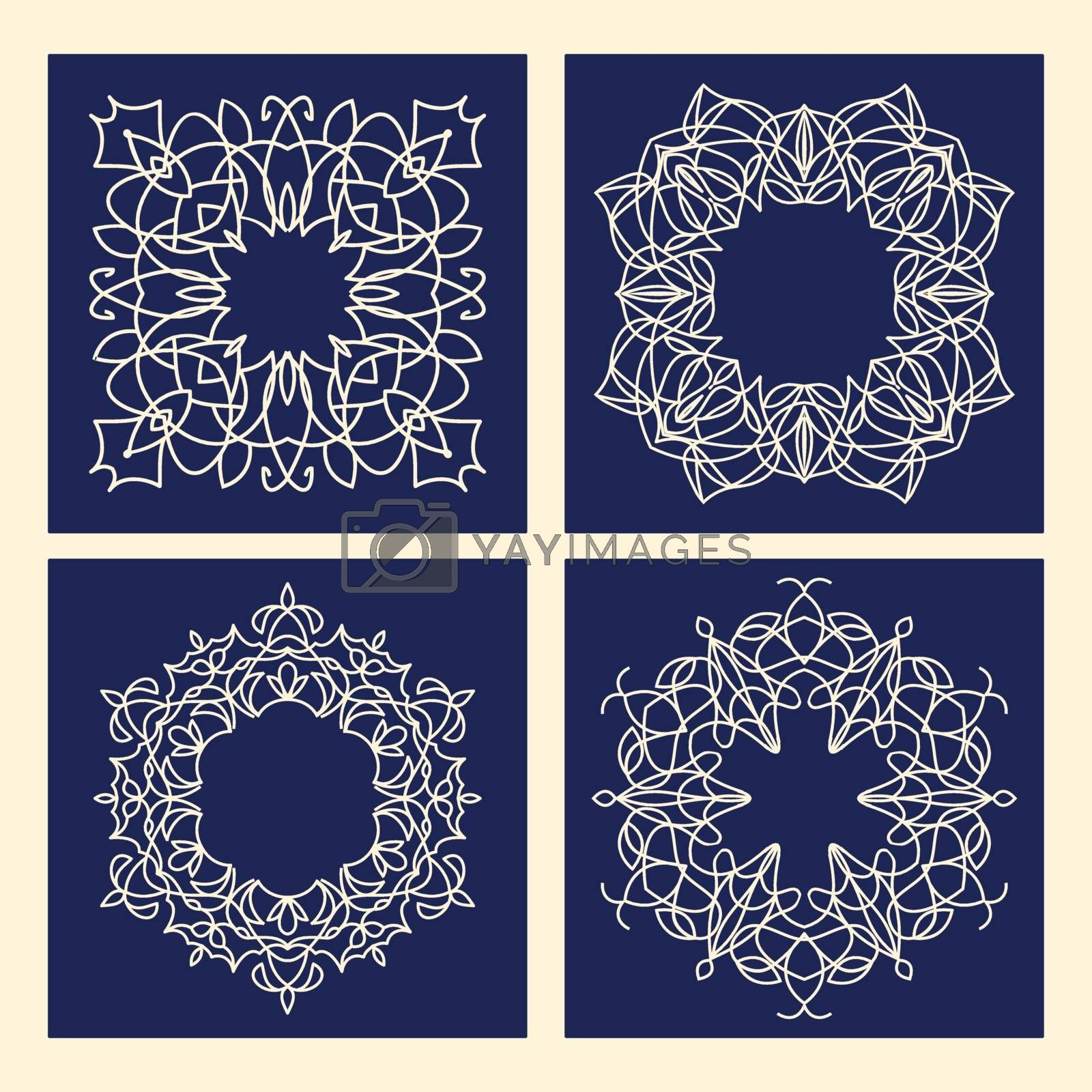 Vector set of abstract frames in line style - graphic design elements .Vector floral vintage frame with copy space for text