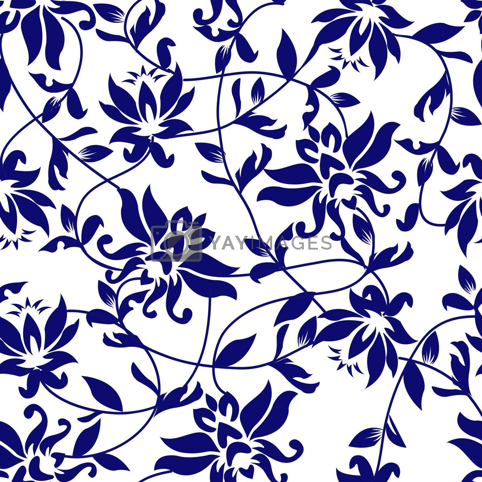 Vector lotus - seamless pattern - Illustration. Beauty Background with a blue lotus.