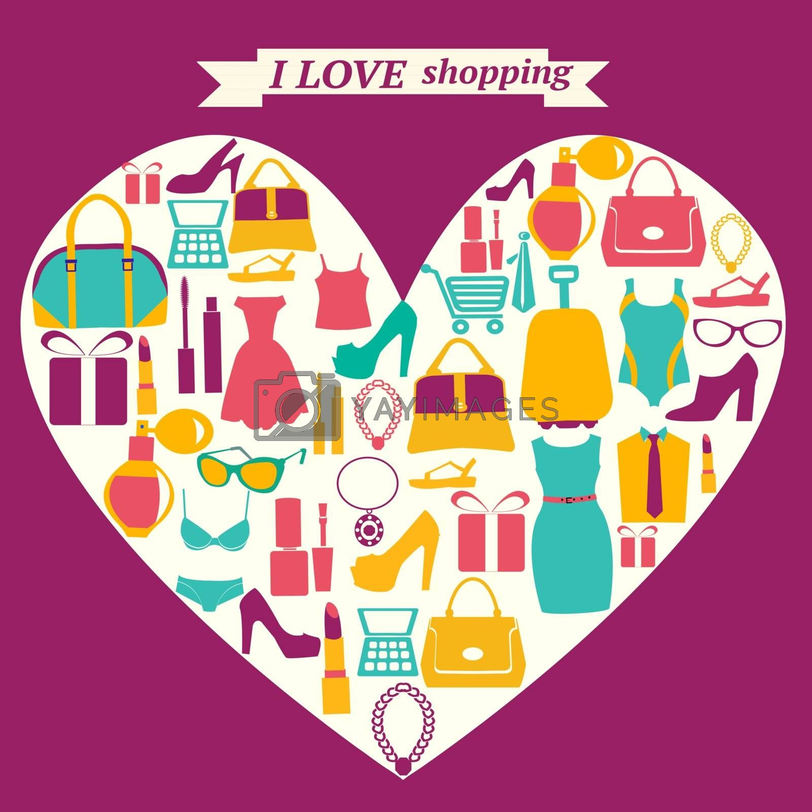 Vector icons set with colorful shopping icons in heart shape. I love shopping-background
