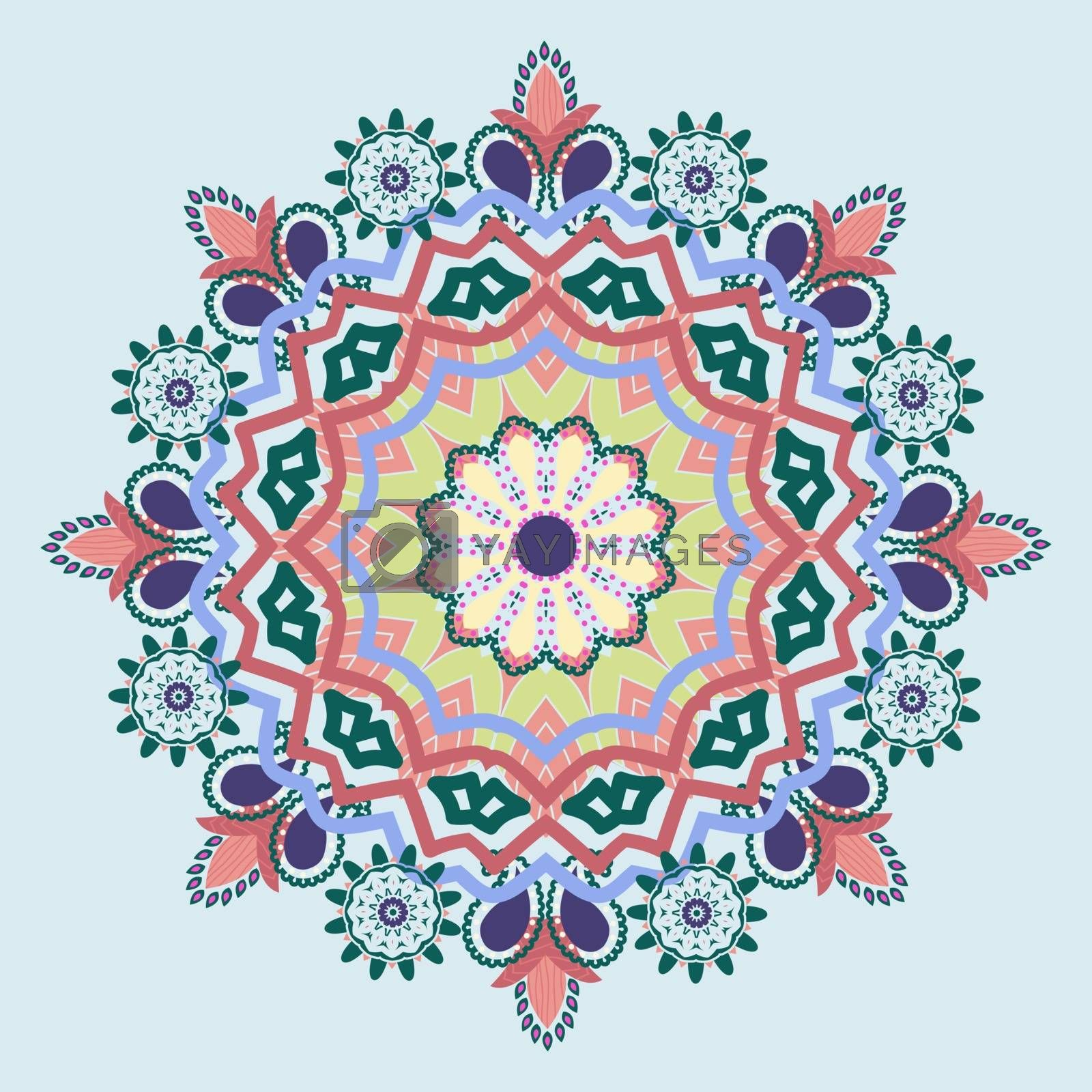 Colorful Mandala hand-drawn patterns round ornament. Decorative elements for you design