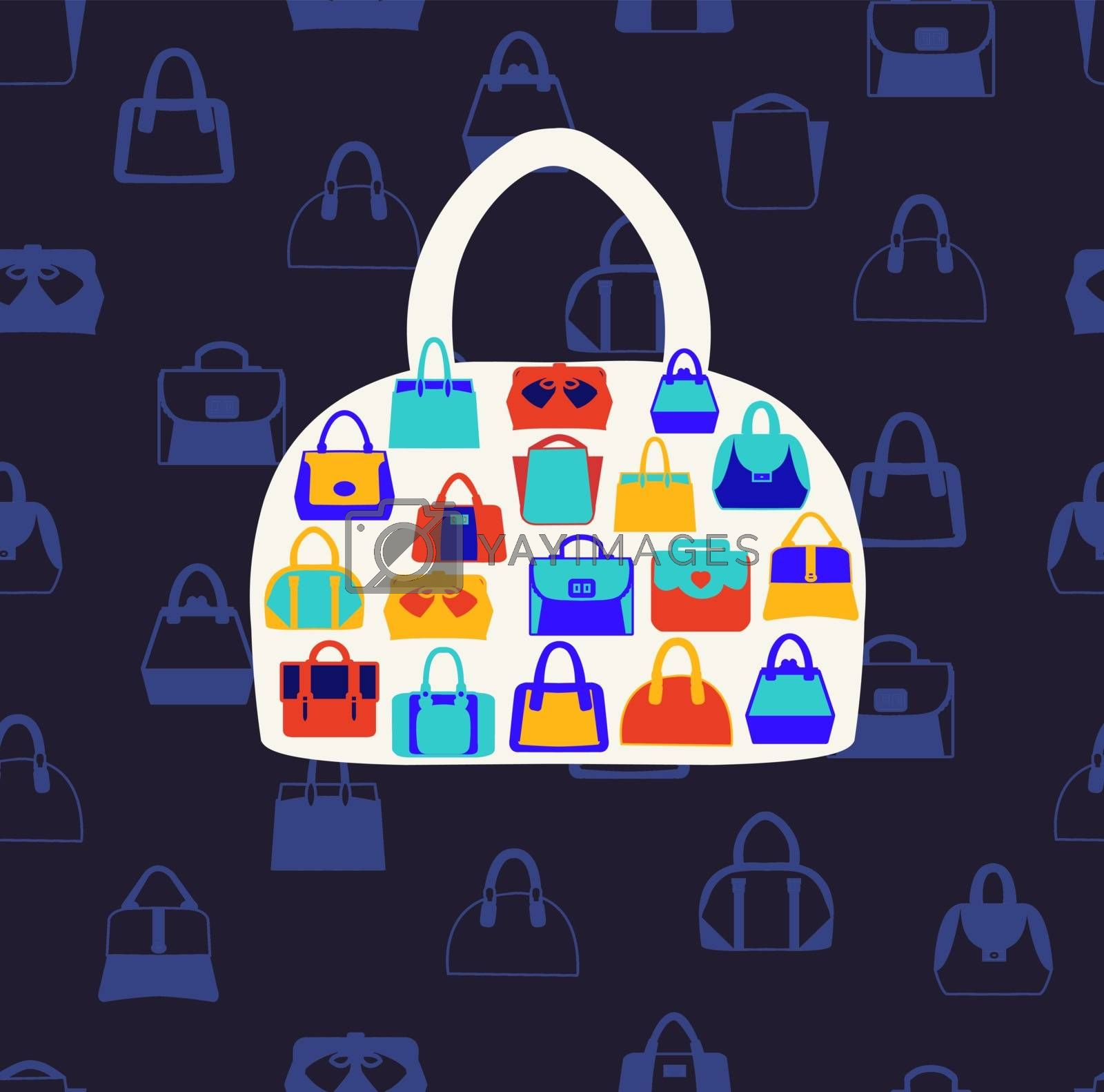 Vector set icons of Women bags and  handbags. Fashion Pattern on dark blue background