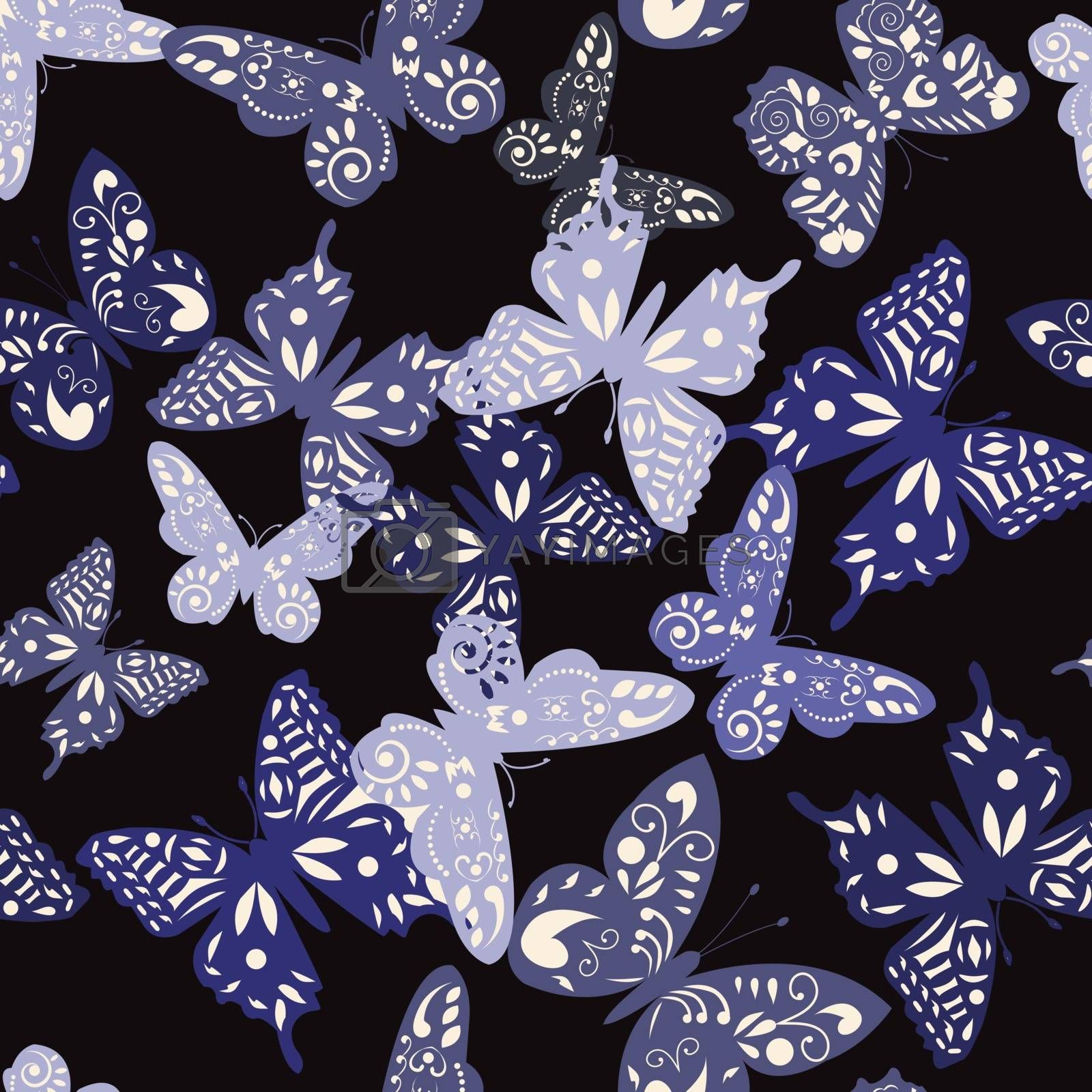 vector  Decorative pattern of collection cute butterflies  - Illustration