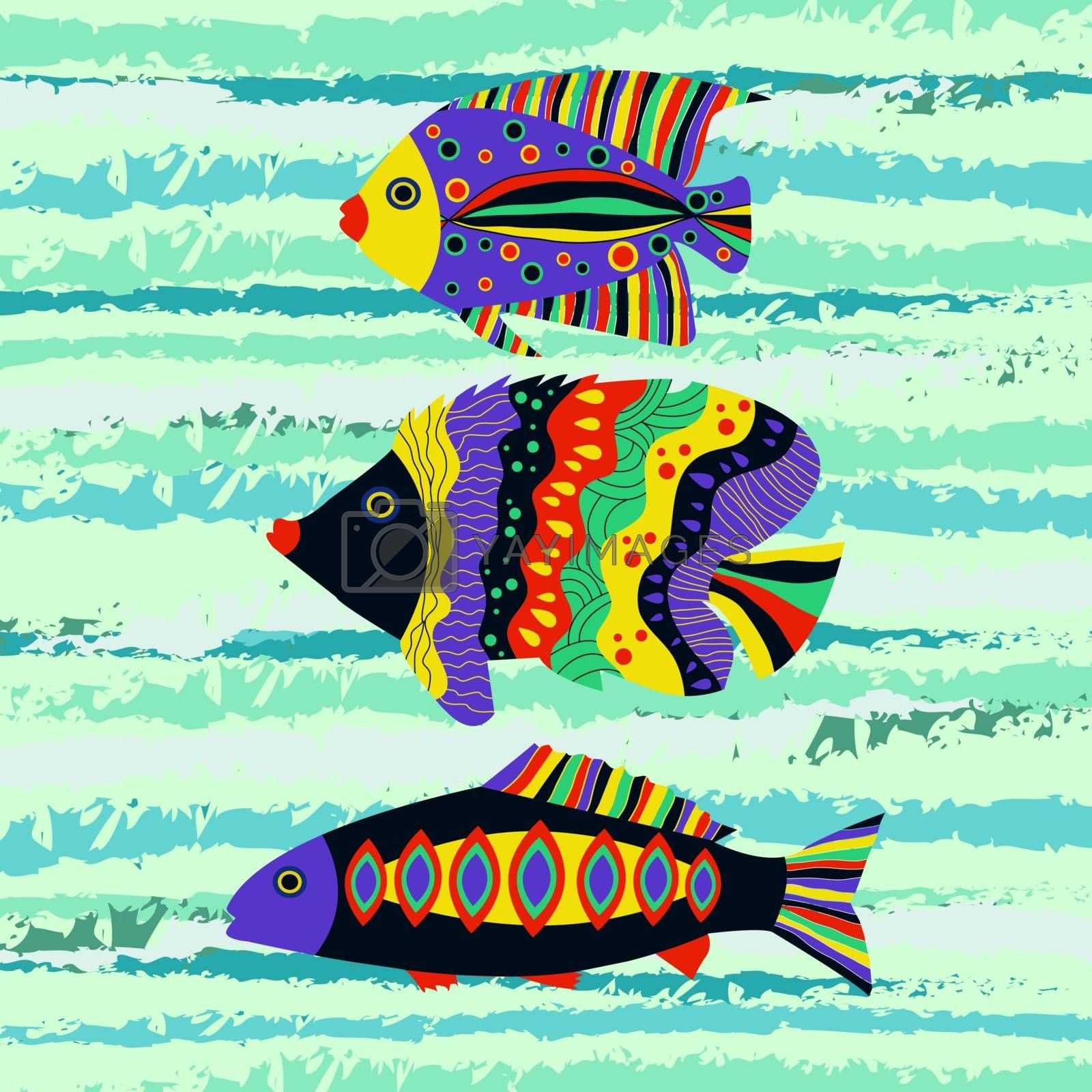 Vector background with  Colorful tropical fish swimming in the sea. Vector illustration