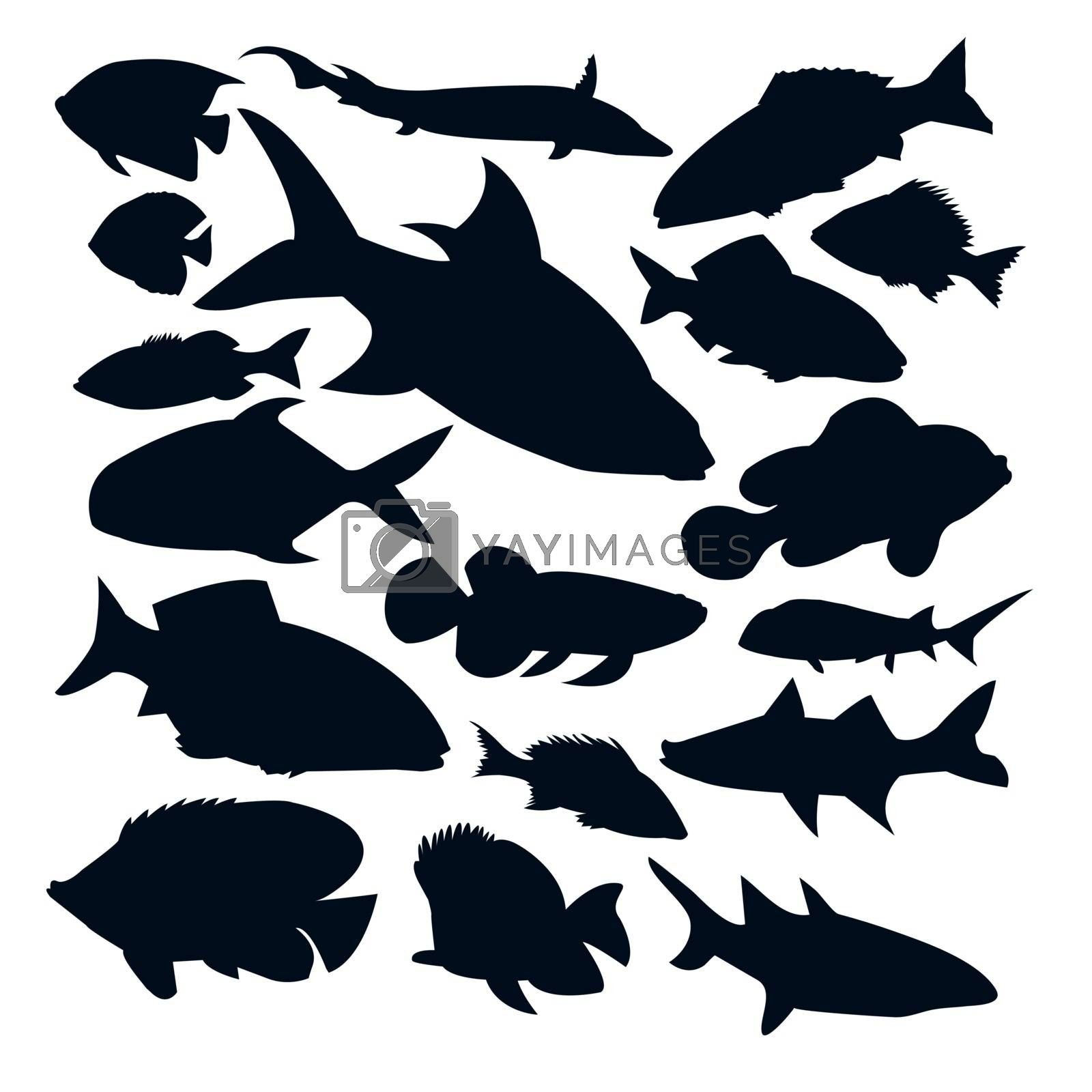 Vector Set of different kinds of fishes silhouettes isolated