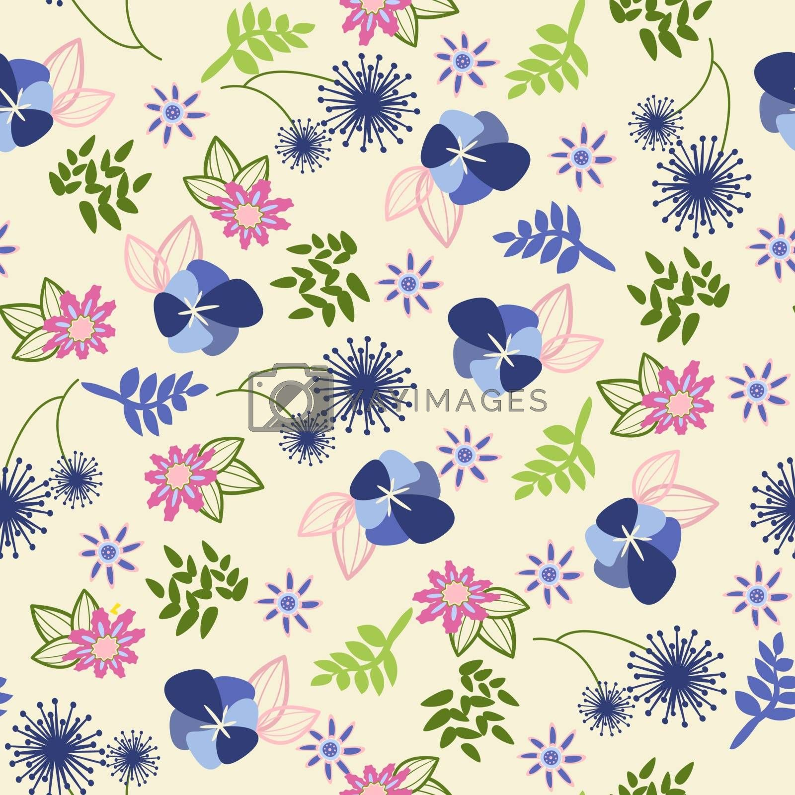 Vector beautiful vintage floral pattern on beige  background