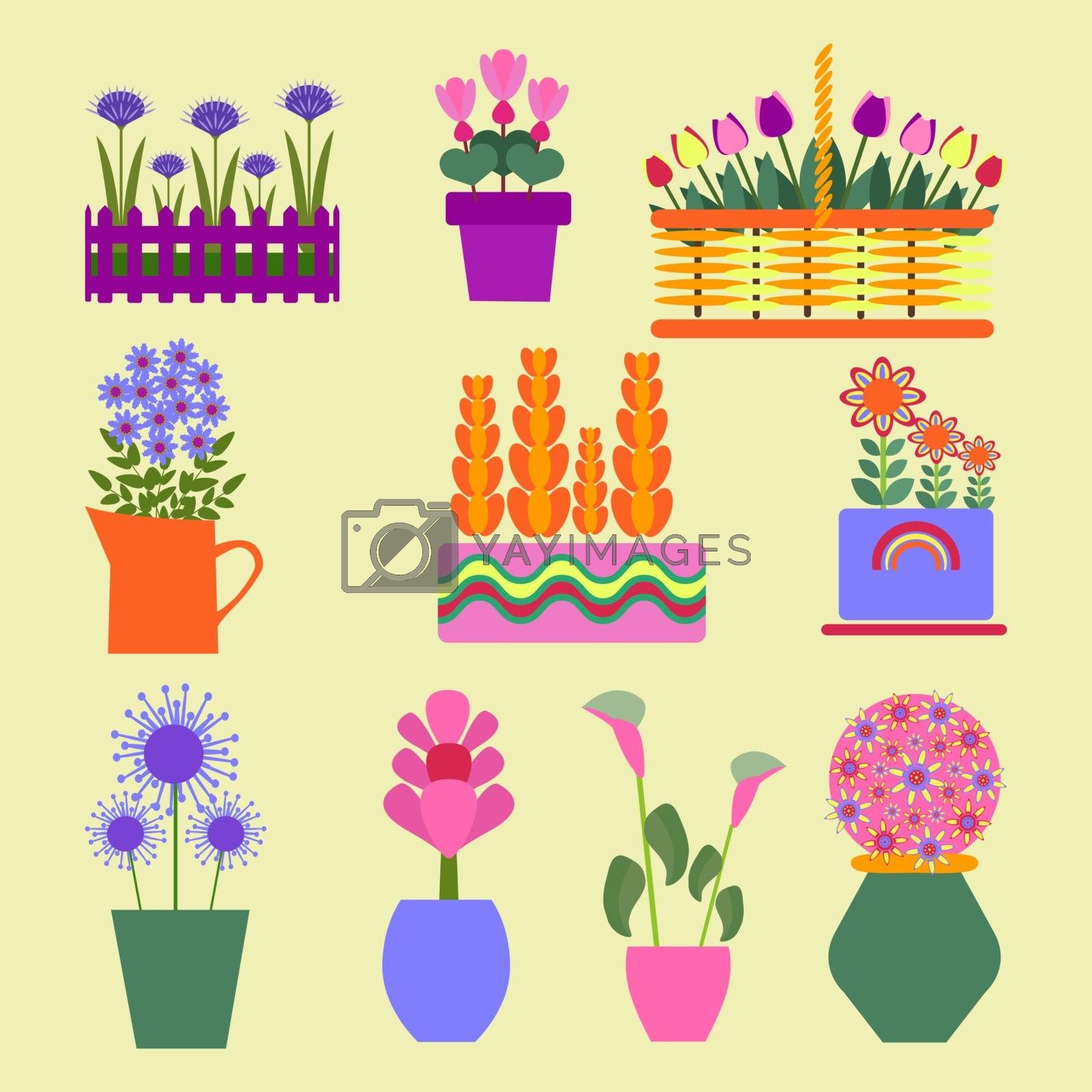 Flower shop. Garden plants spring and summer.  Vector flat illustrations, set icons for design.