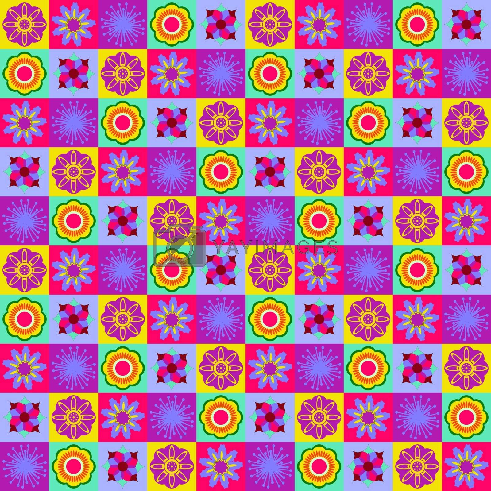 Abstract summer Seamless geometric flowers collection pattern background