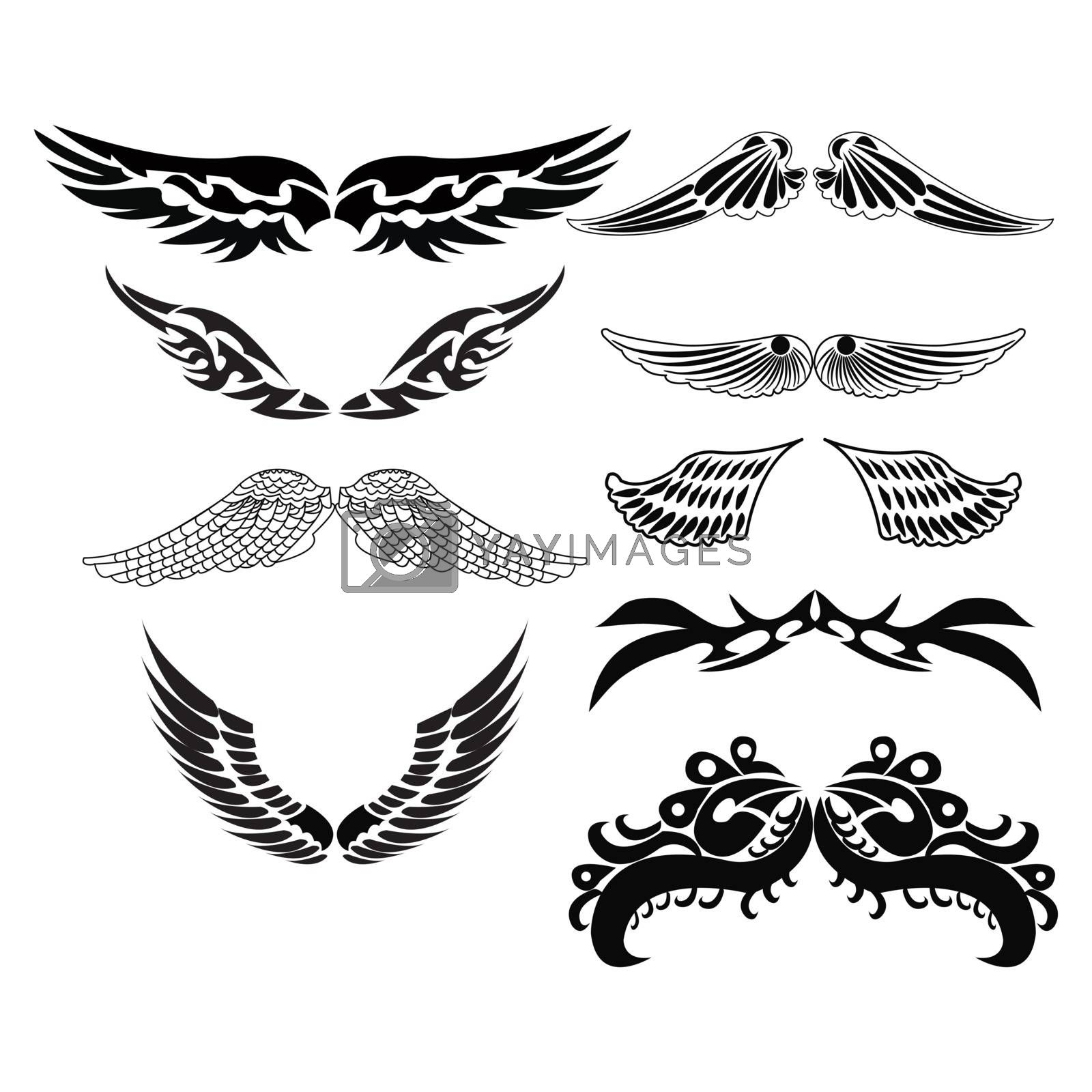 Vector Set sketches of tribal wings for tattoo design illustration