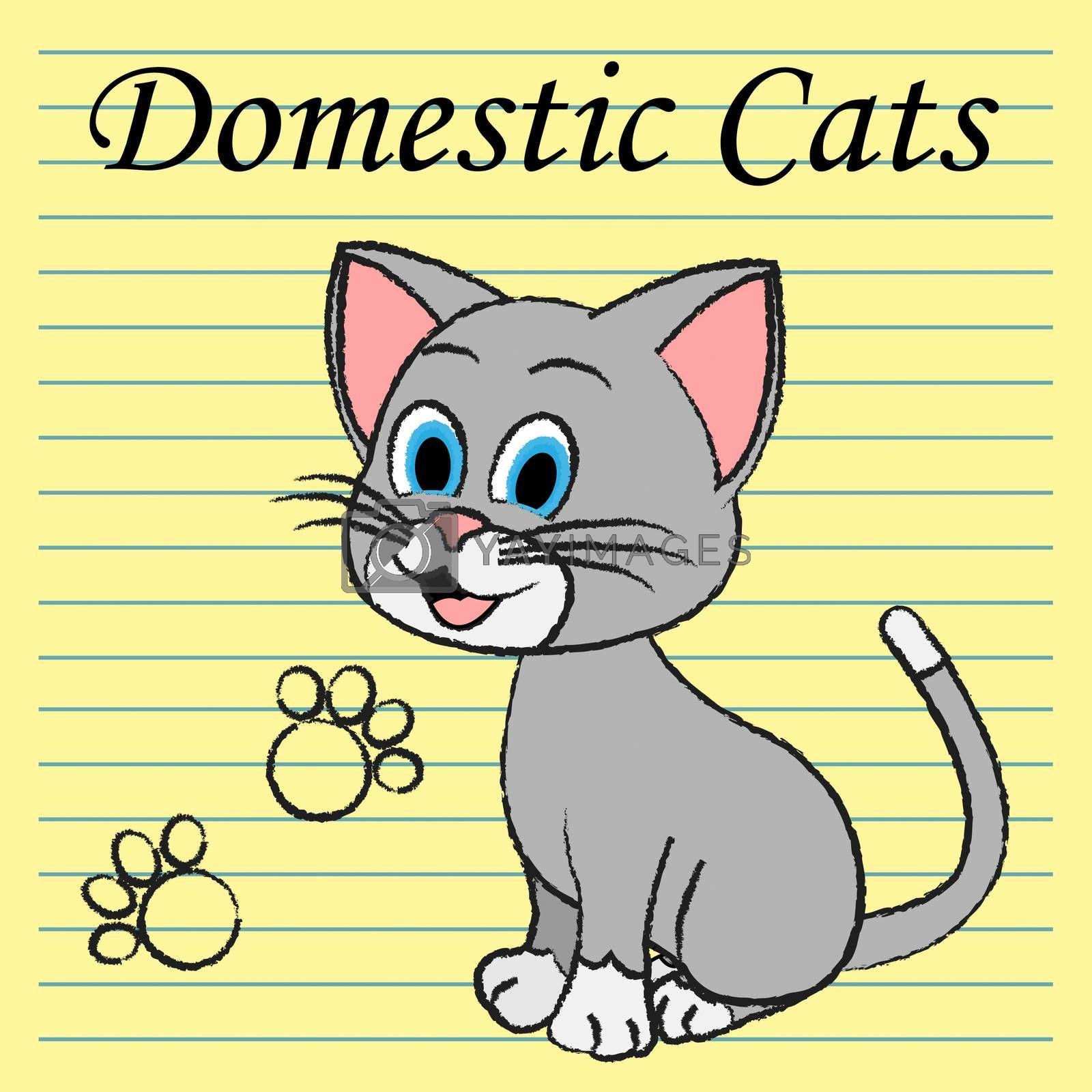 Domestic Cats Representing Family Puss And Feline