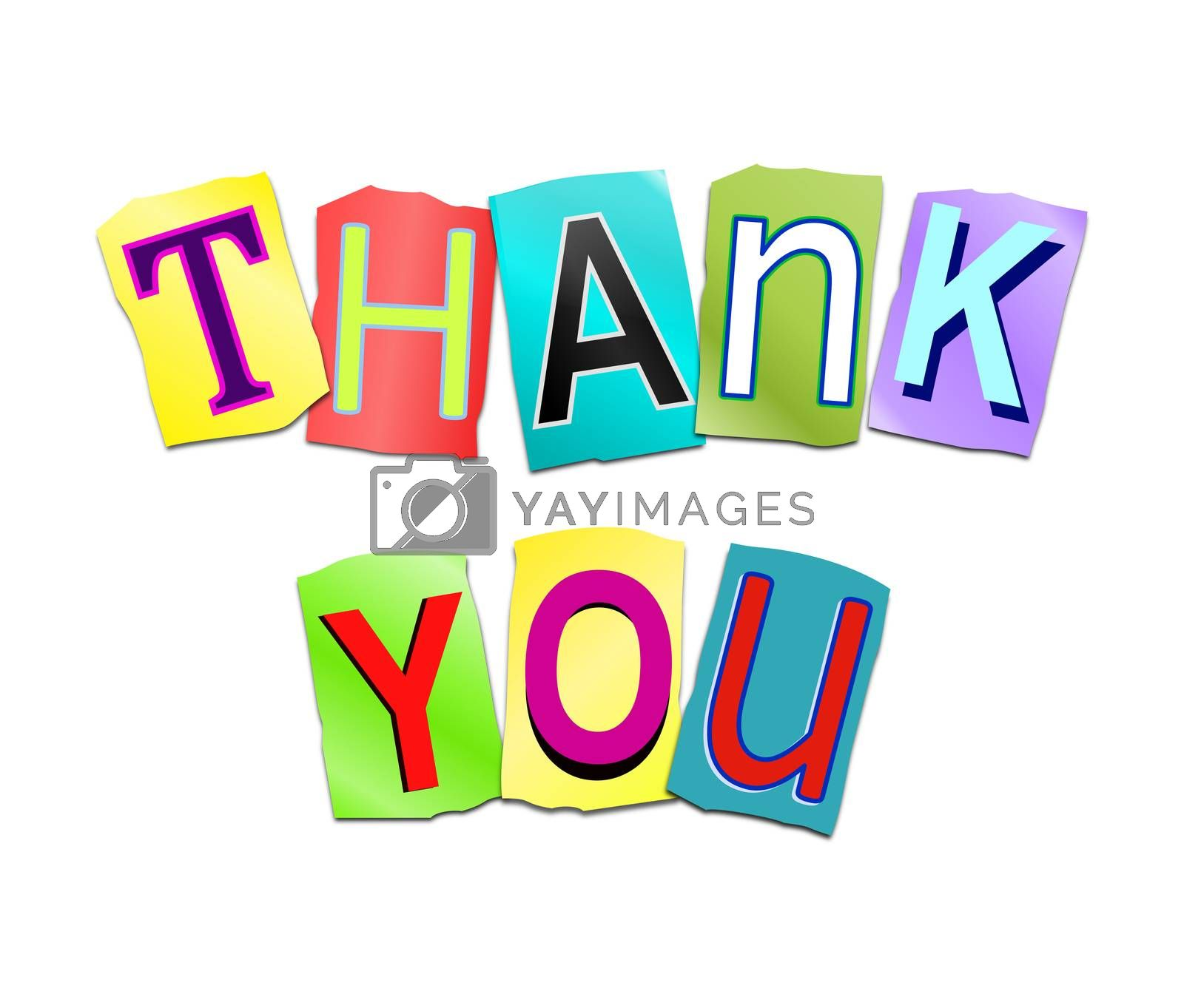 Illustration depicting a set of cut out printed letters arranged to form the words thank you.