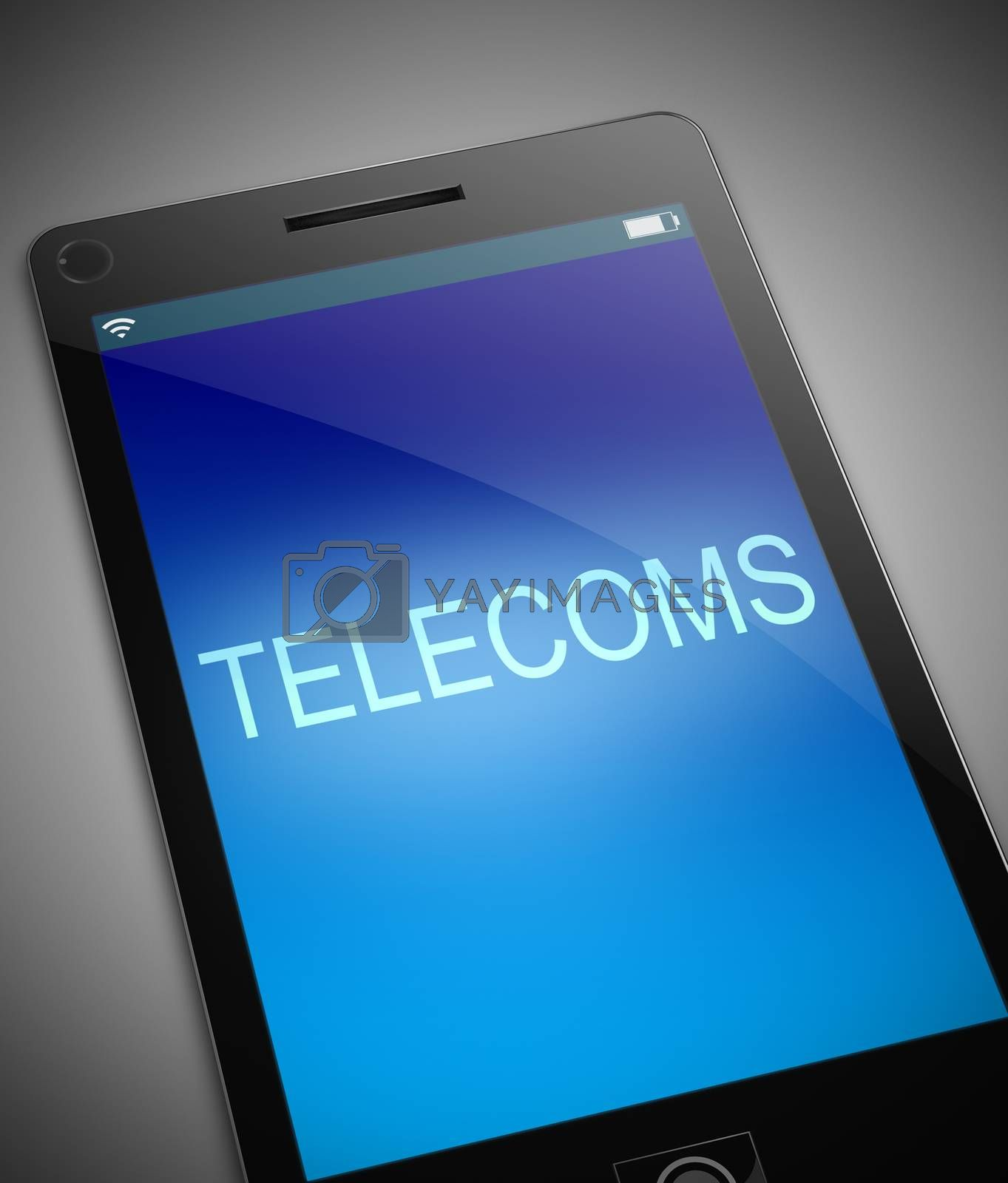 Illustration depicting a phone with a telecoms concept.