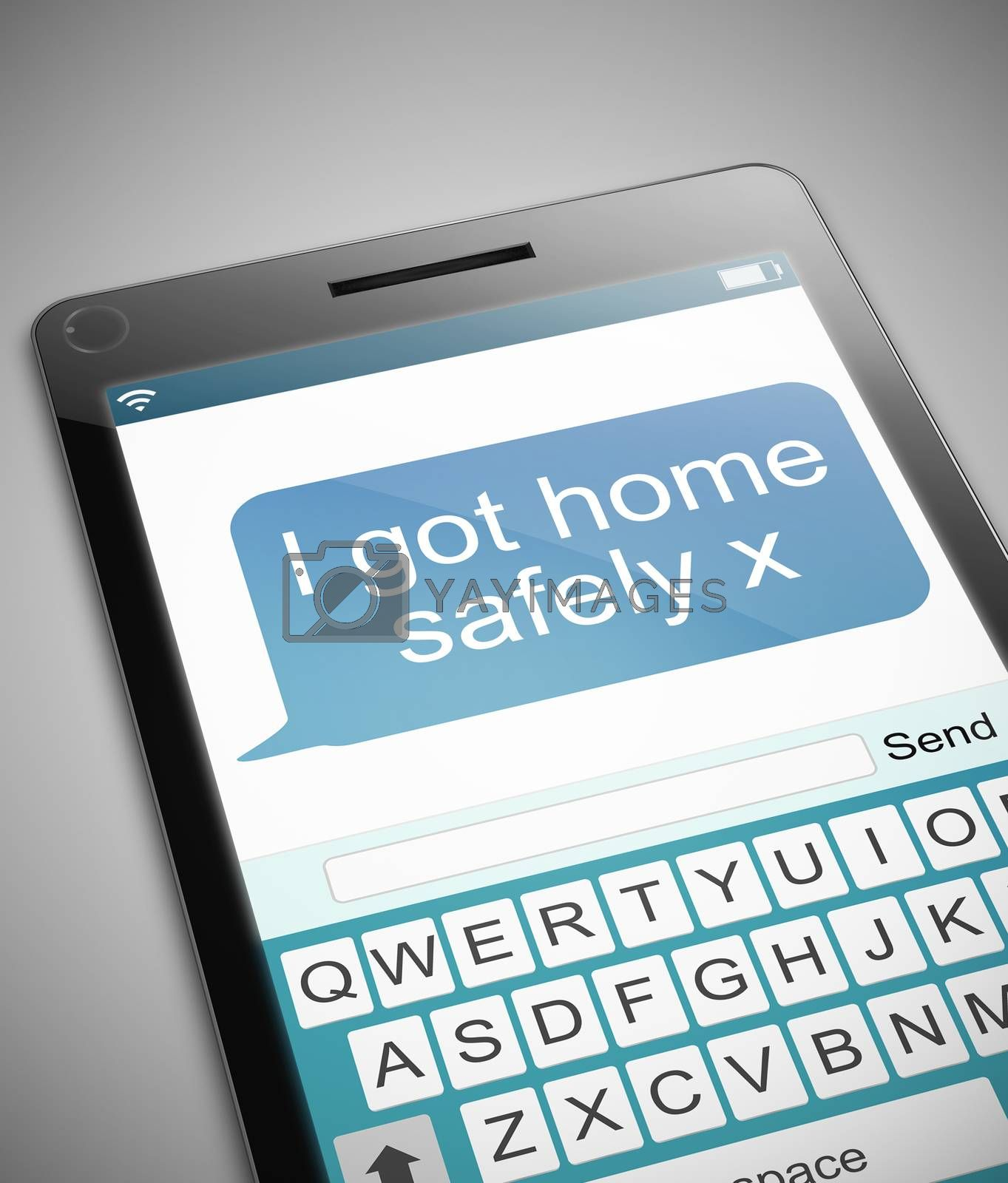 Illustration depicting a phone with a got home safe concept.