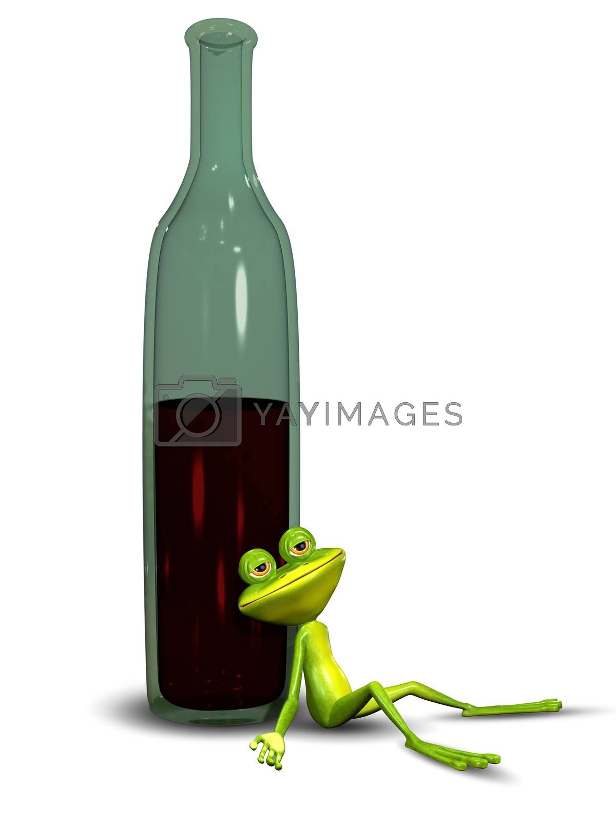 3D Illustration of a Frog Sitting Drunk in Bottles