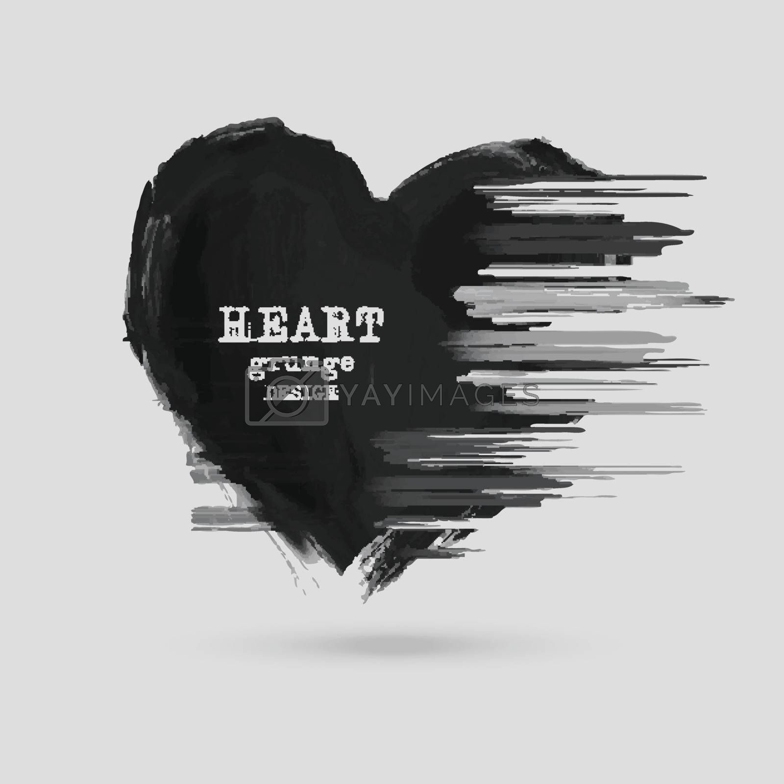 Abstract Heart design. Grunge stamps element. love Shapes for your decoration. Distressed symbols. Textured Valentine's Day signs.Vector illustration.