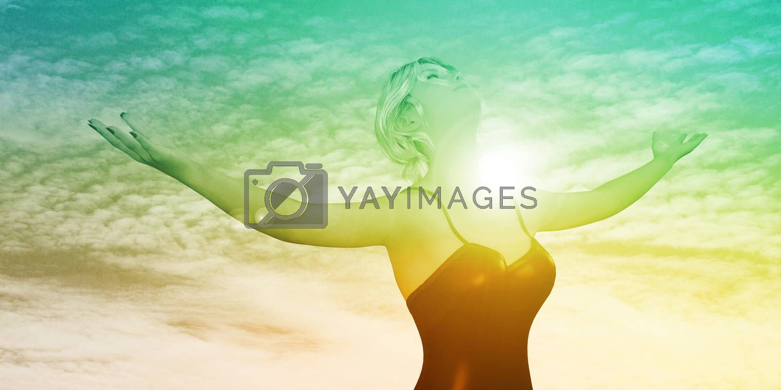 Enlightenment with Woman Holding Arms Out Happily