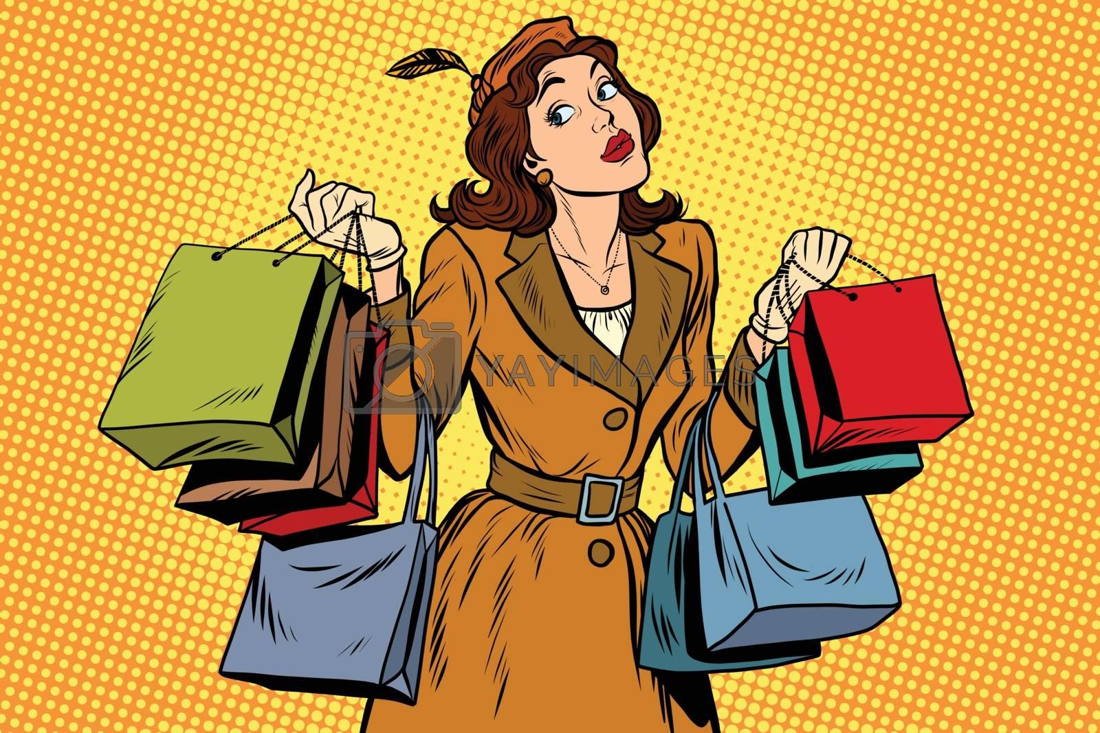 Beautiful retro woman on sale, pop art retro vector illustration. Seasonal and holiday shopping