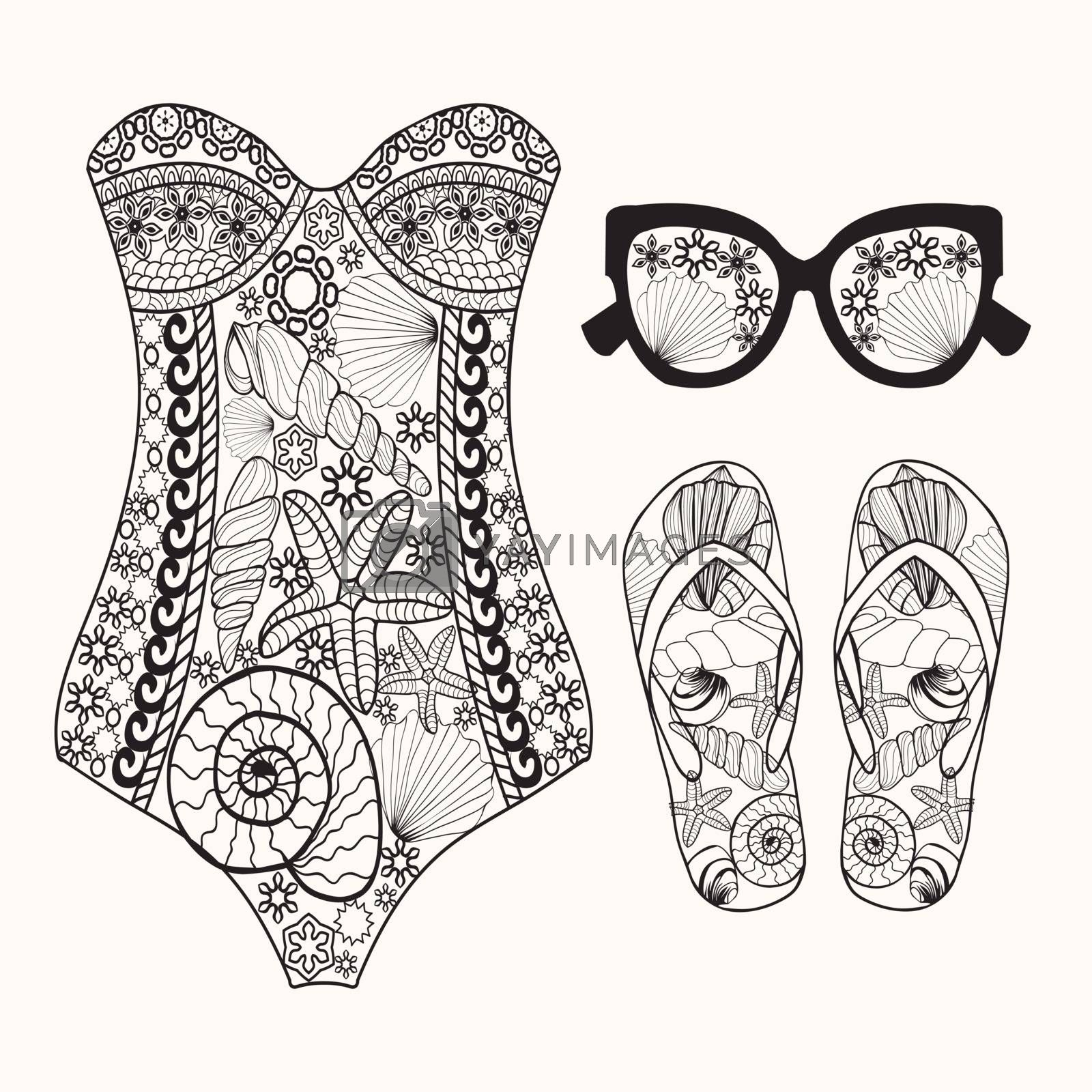 Vector summer fashion set of woman's beach accessories. Vintage hand drawn travel objects in style illustration, beach concept. Coloring book page for adult.