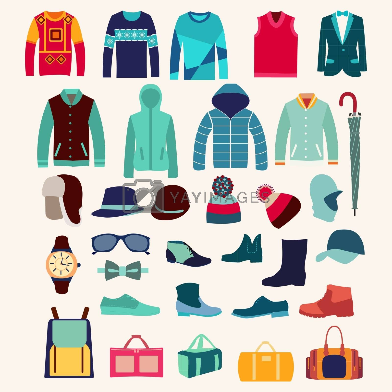 Set of Fashion collection of man wardrobe. Various male clothing illustration