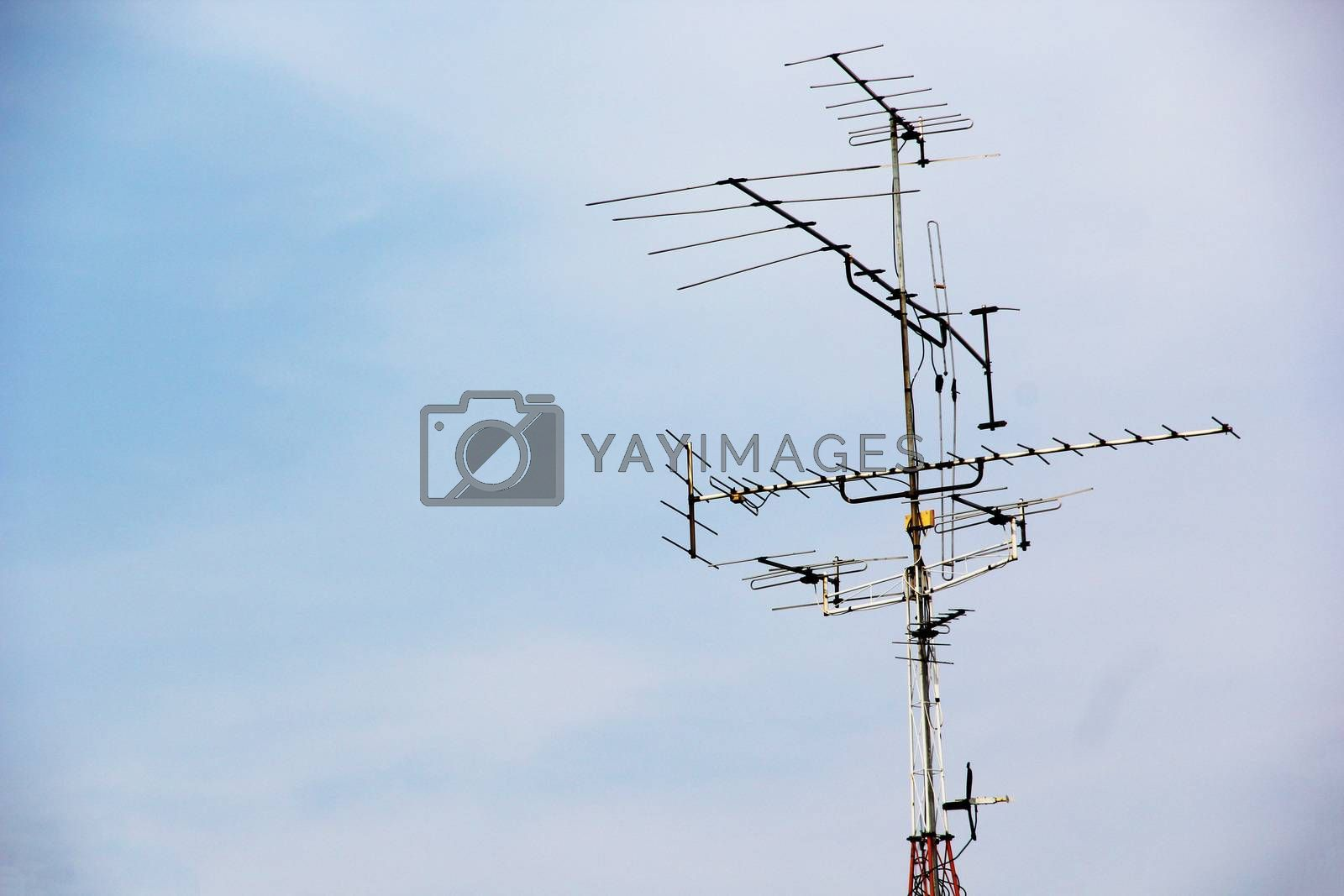 Television antenna with blue sky by liewluck