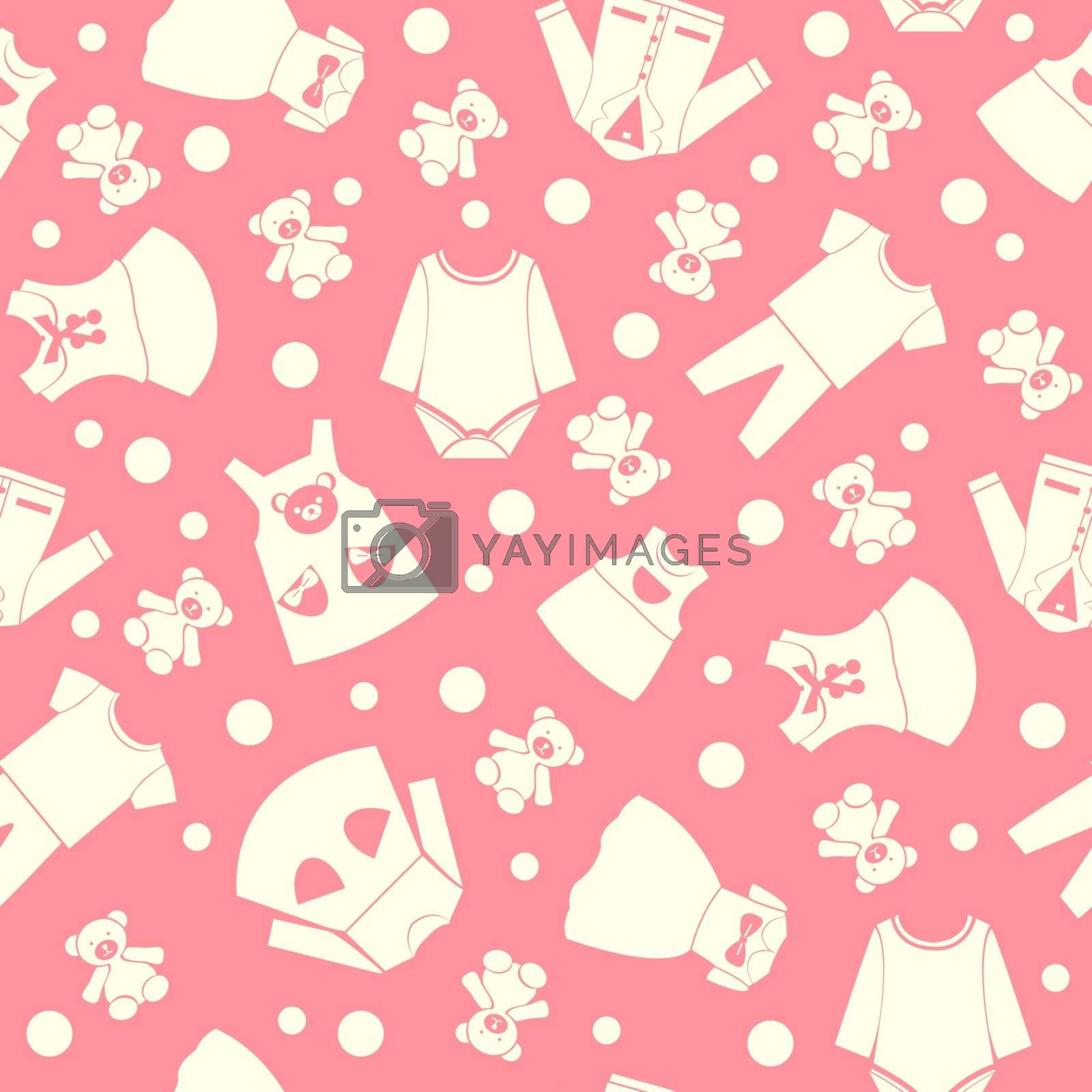 Vector pattern with collection cute children fashion clothing in pink background -illustration