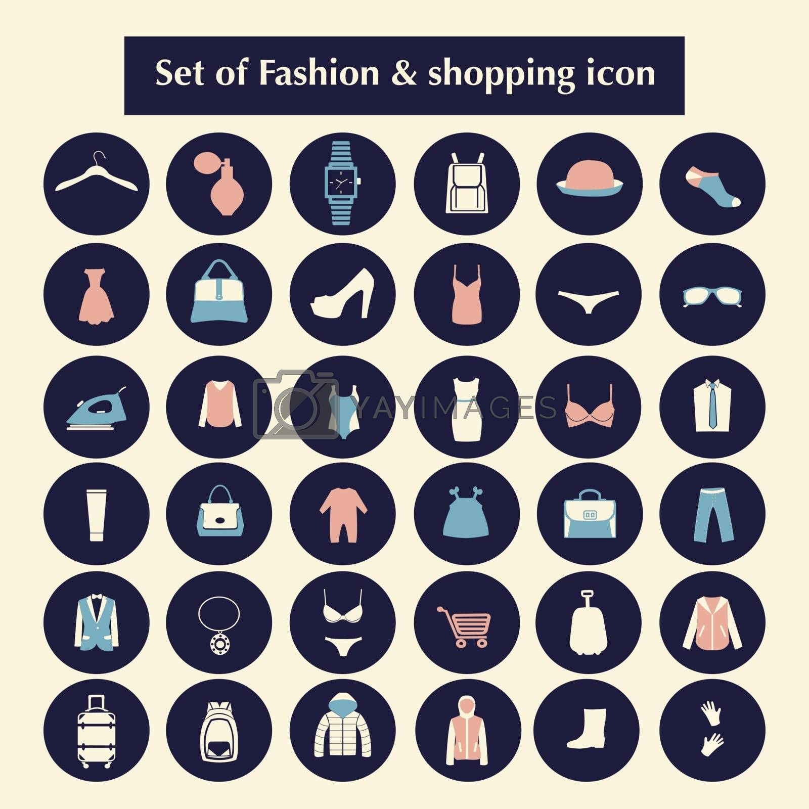 Shopping and Fashion related icons made in circle shape. Clothing and accessories set icons-illustration