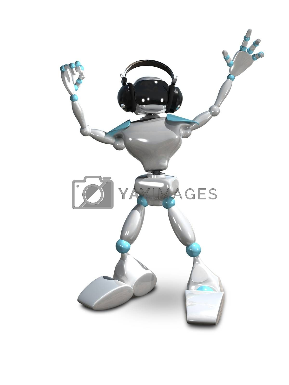 3D Illustration of a White Robot in Headphones