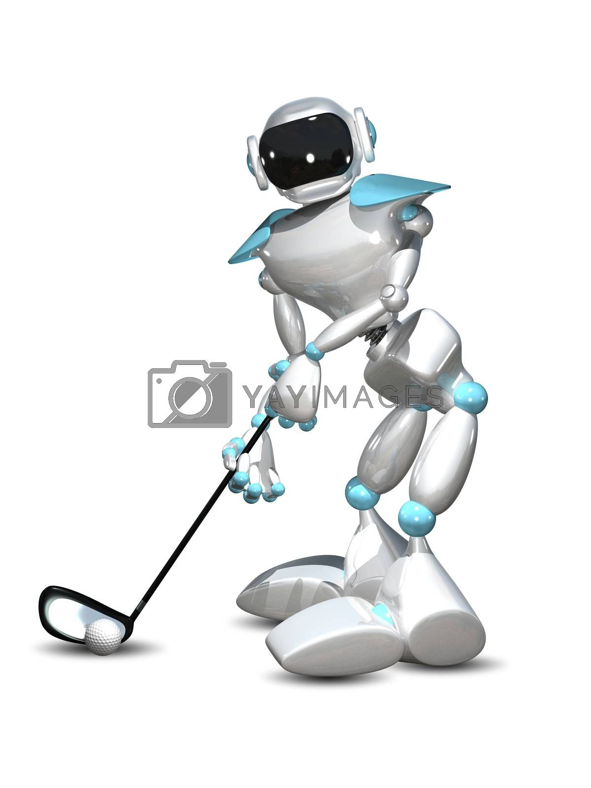 3D Illustration Robot Golfer on a White Background