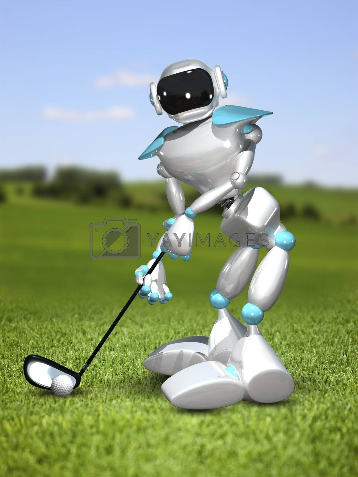 3D Illustration Robot Golfer on the Field