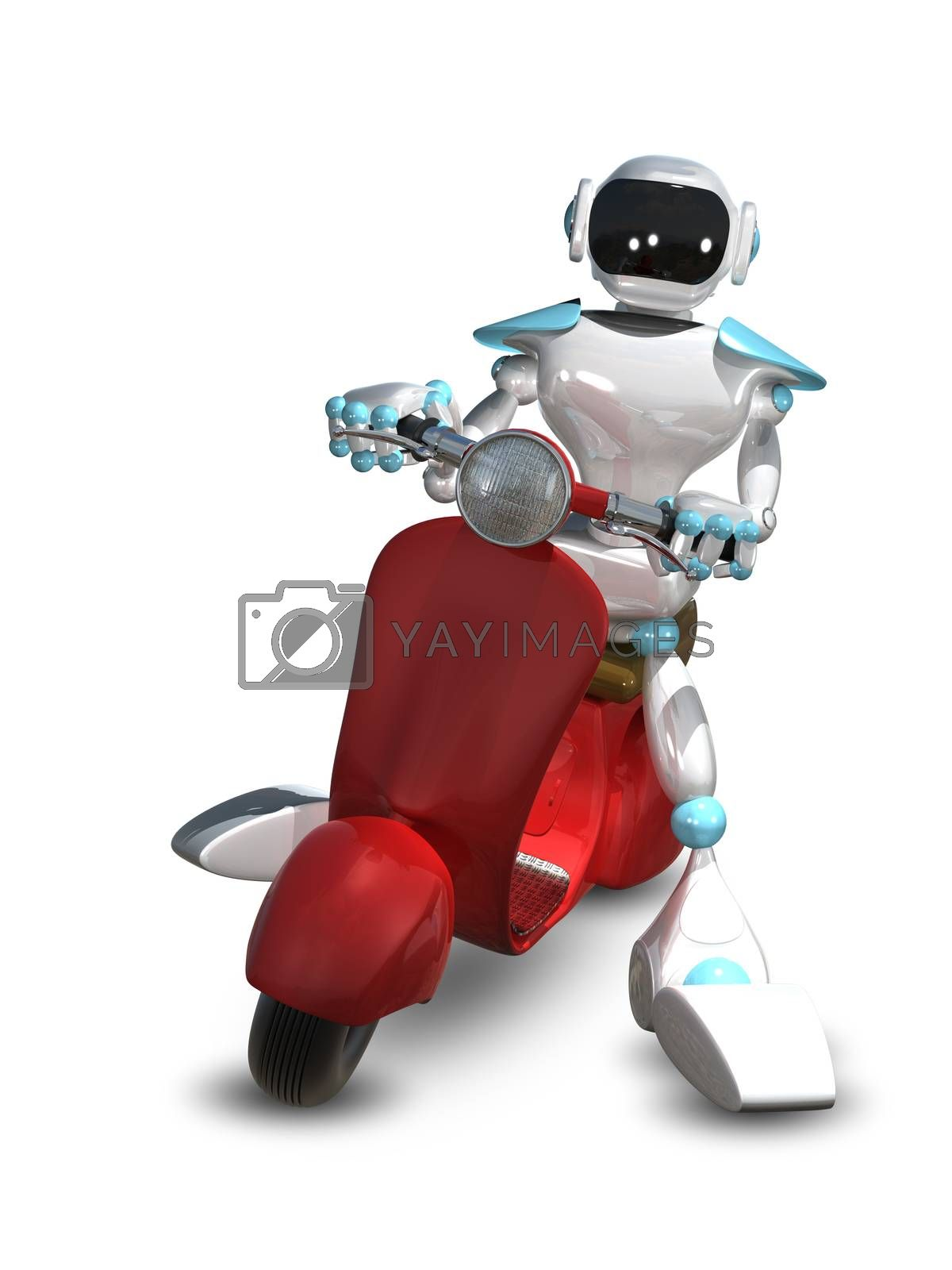3D Illustration of a Robot on a Motor Scooter by brux