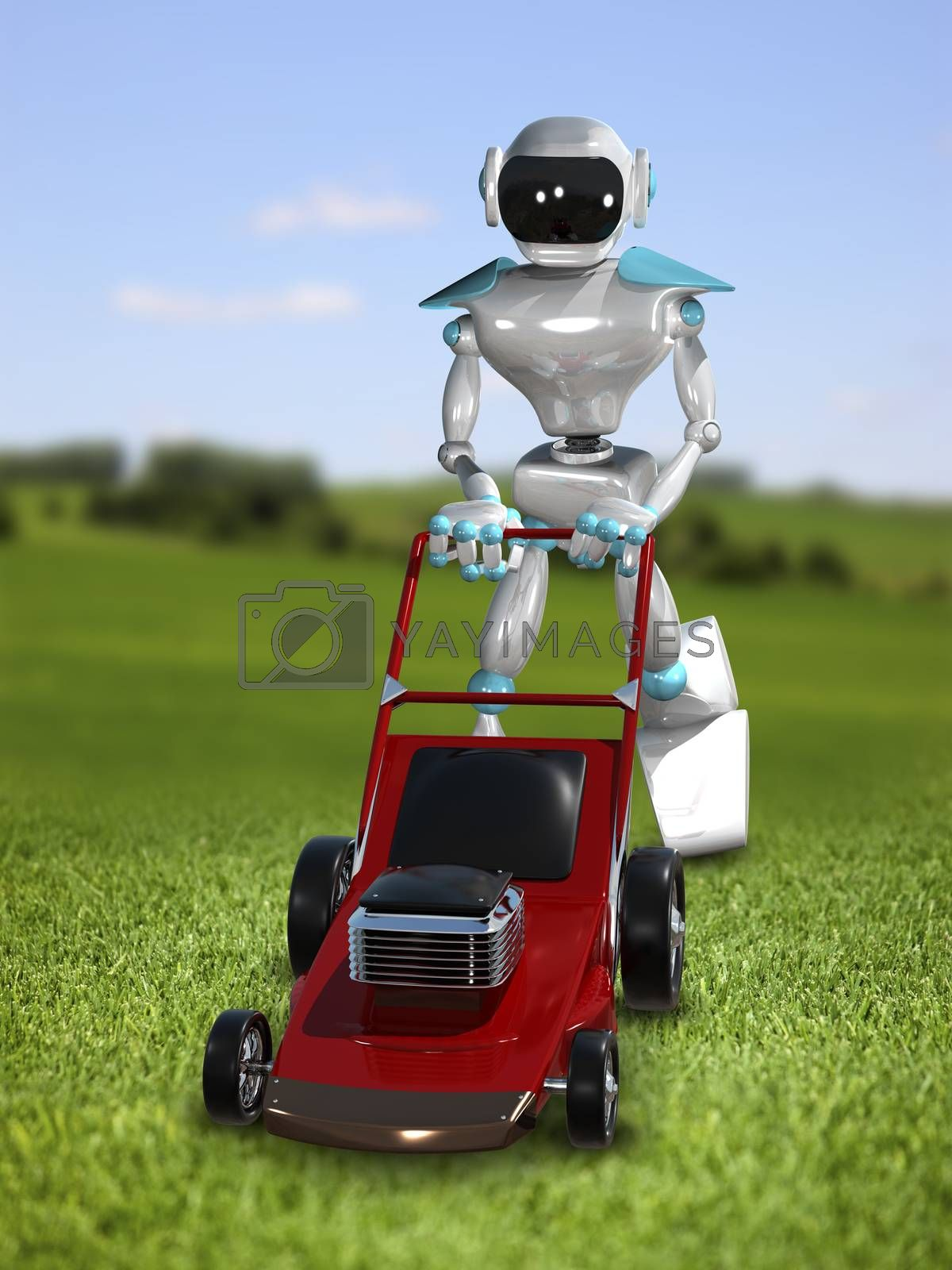 3D Illustration of a Robot with Lawn Mower