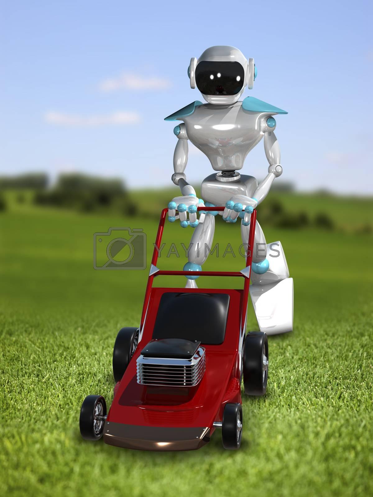 3D Illustration Robot Lawnmower  by brux