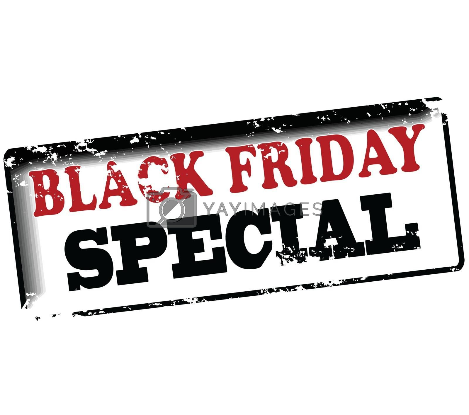 Rubber stamp with text black friday special inside, vector illustration