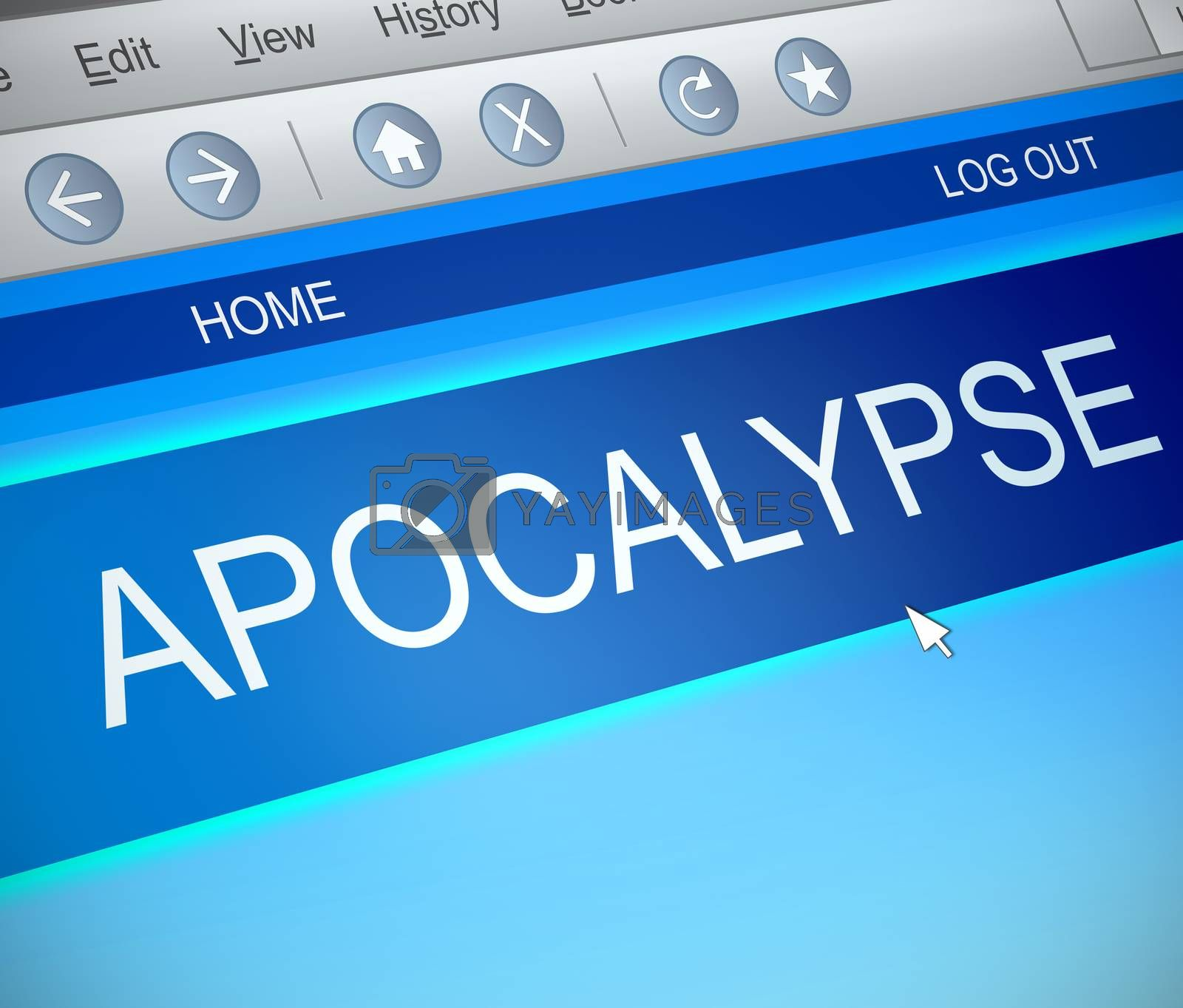 Illustration depicting a computer screen capture with an apocalypse concept.