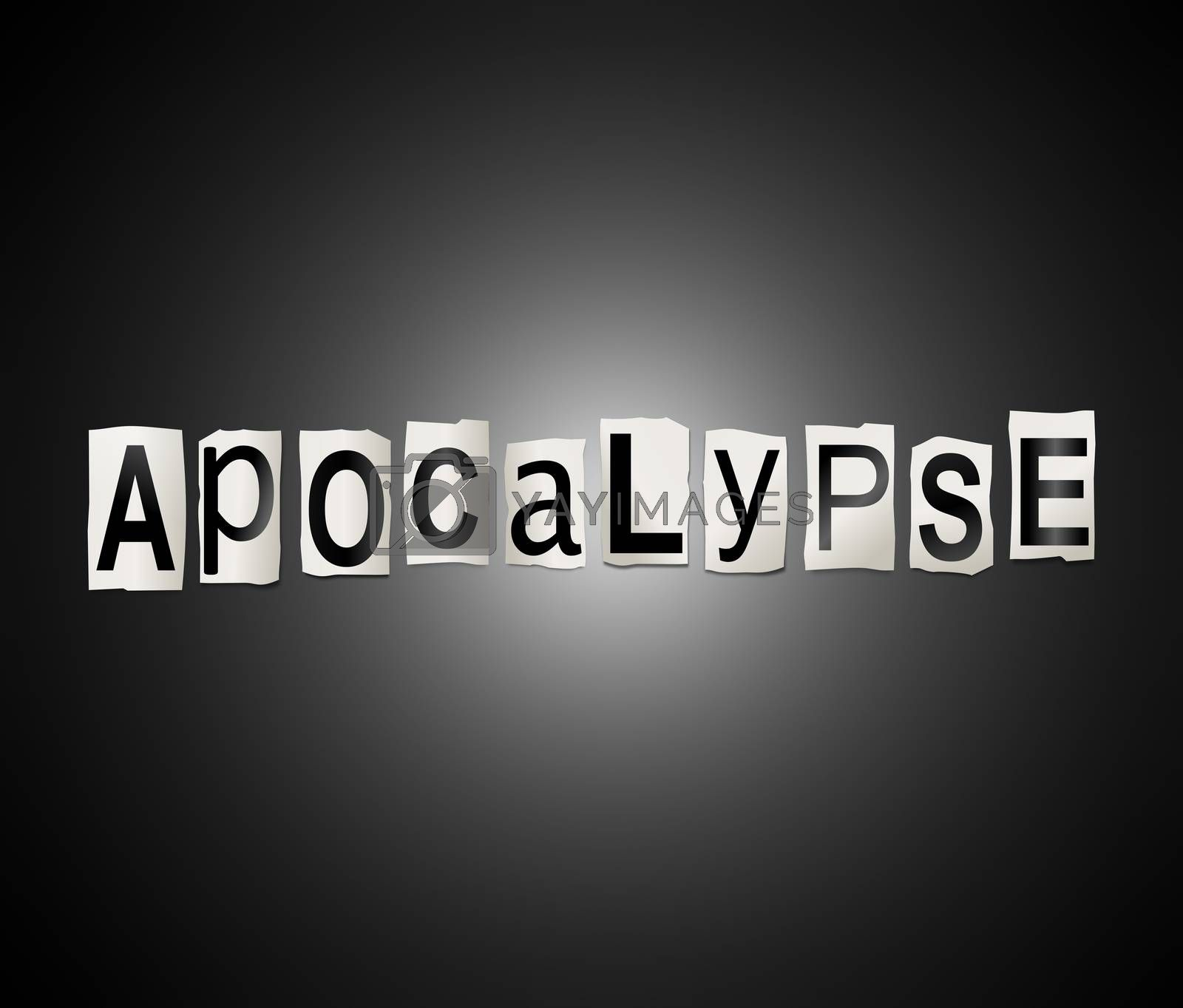 Illustration depicting a set of cut out printed letters arranged to form the word apocalypse.
