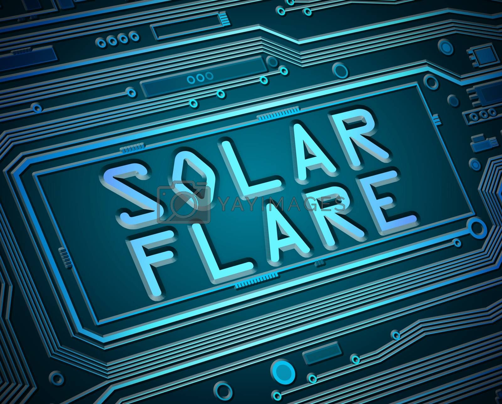 Abstract style illustration depicting printed circuit board components with a solar flare concept.