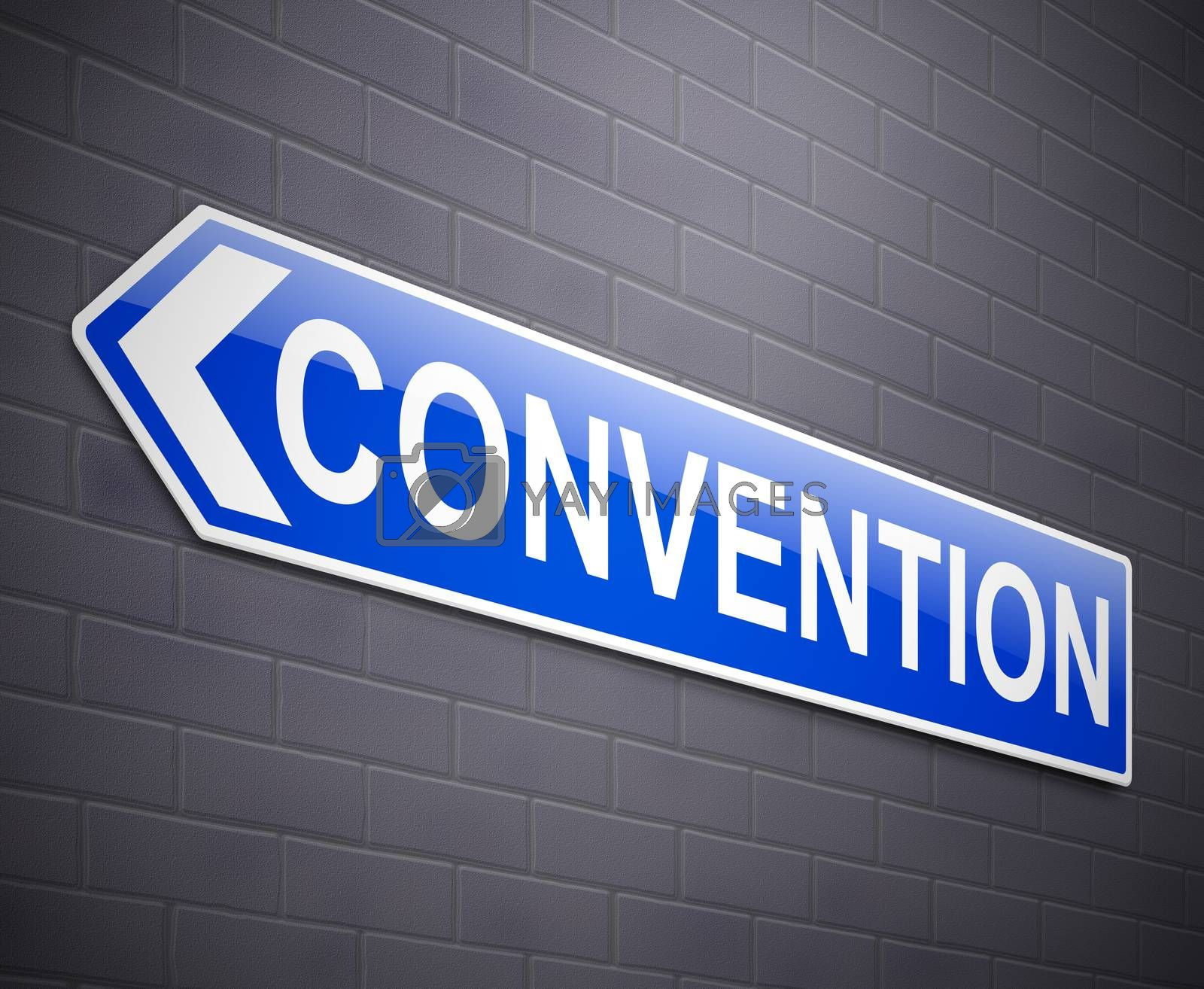 Illustration depicting a wall mounted sign with a convention concept.
