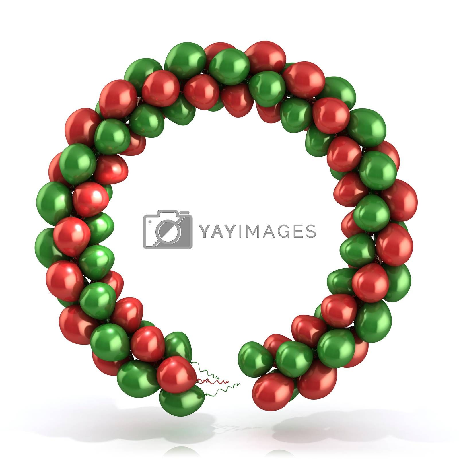 Red and green balloons wreath, isolated on white