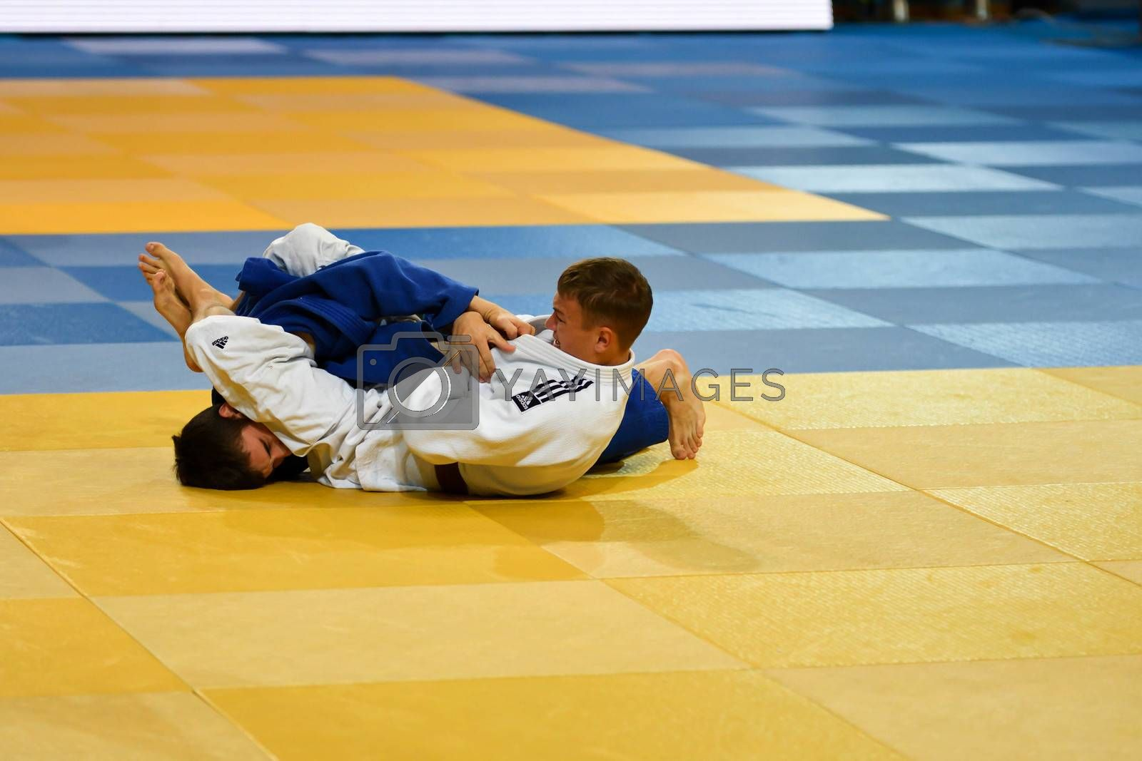 Orenburg, Russia - 21 October 2016: Boys compete in Judo at the all-Russian Judo tournament among boys and girls born between 2000-2002, dedicated to the memory of V. S. Chernomyrdin