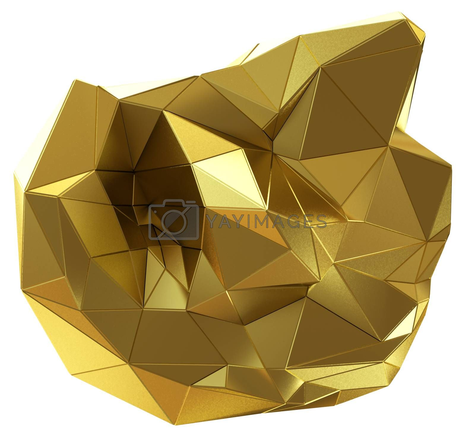 Abstract golden shape isolated on white. 3D illustration