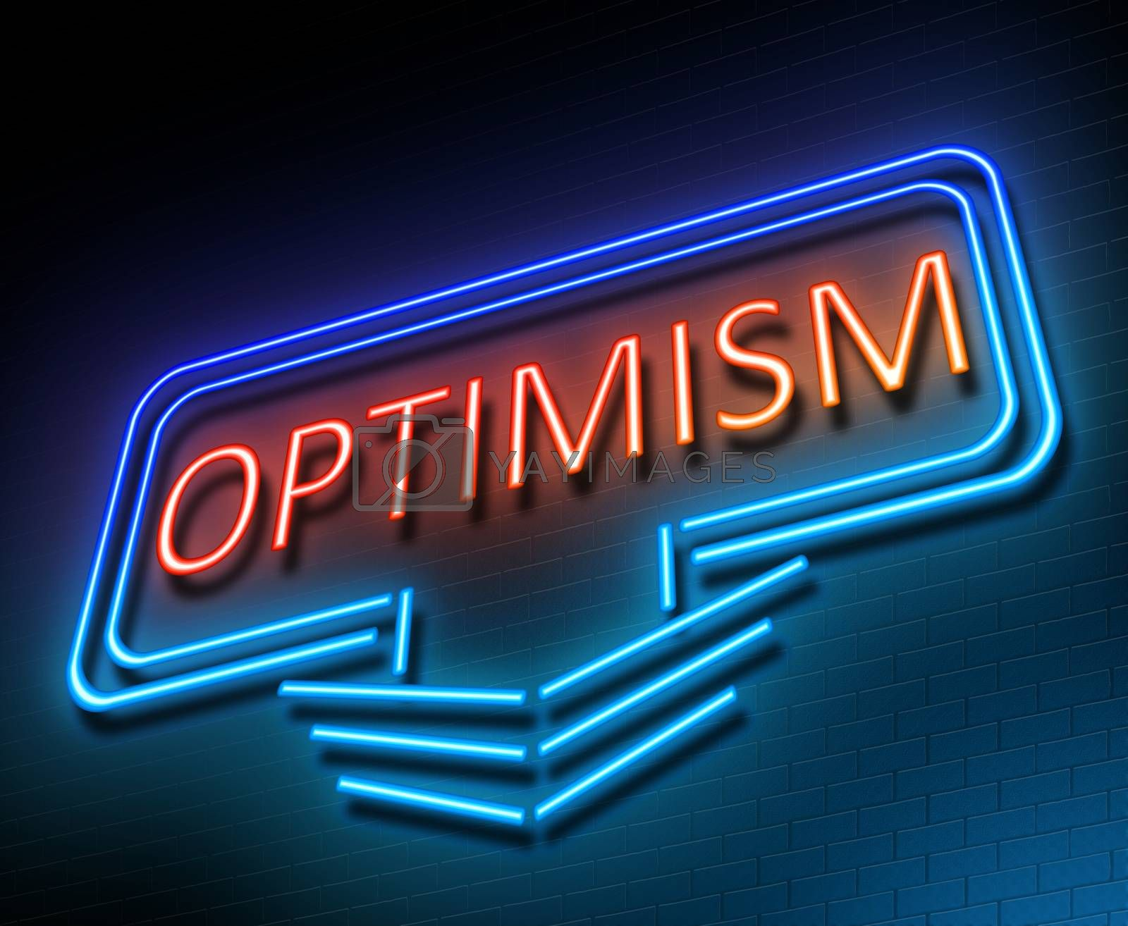 Illustration depicting an illuminated neon sign with an optimism concept.