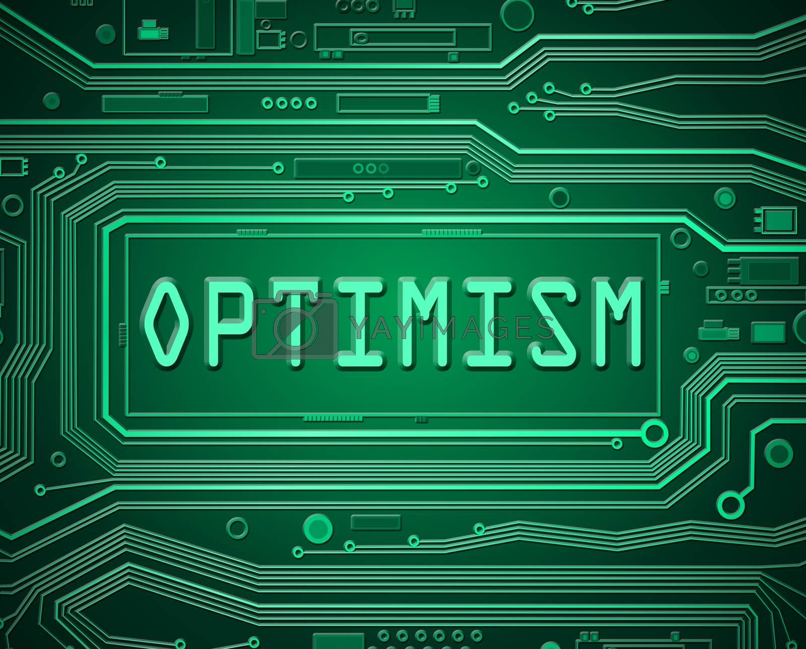 Abstract style illustration depicting printed circuit board components with an optimism concept.