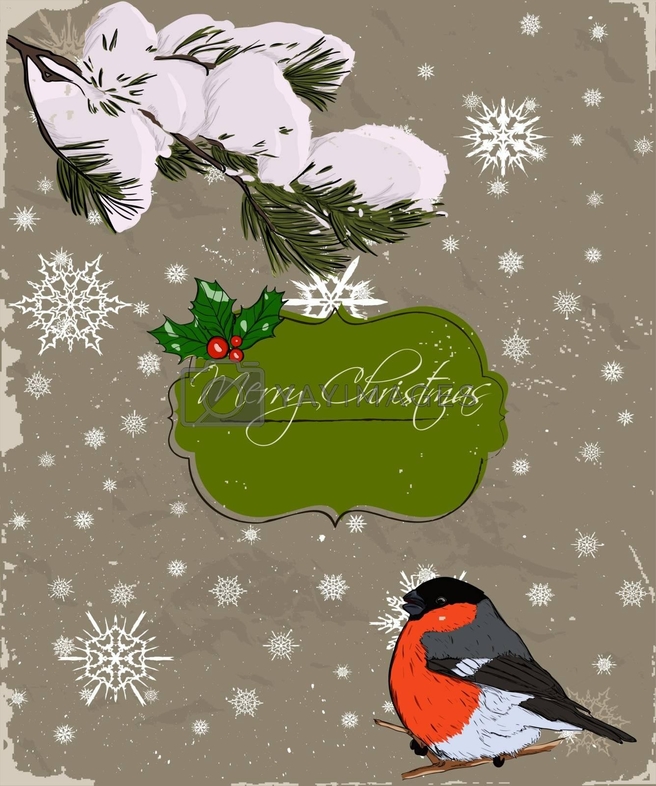 Christmas card with bullfinch. Vector illustration EPS8