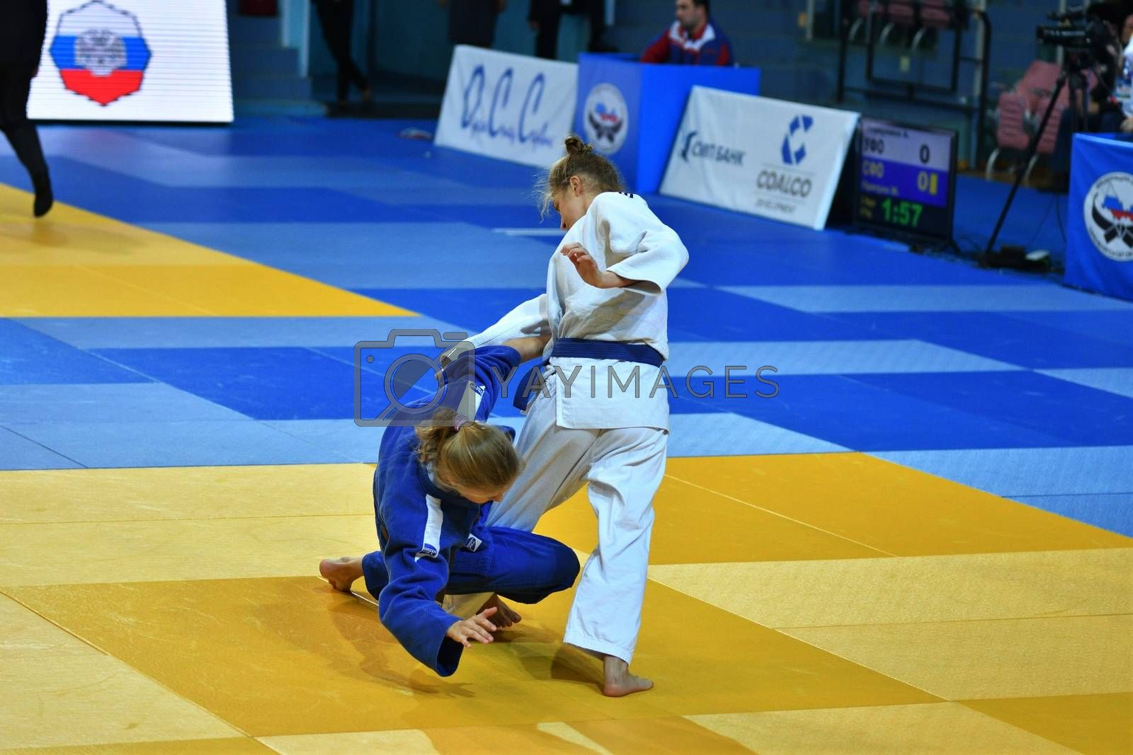 Orenburg, Russia - 21 October 2016: Girls compete in Judo at the all-Russian Judo tournament among boys and girls born between 2000-2002, dedicated to the memory of V. S. Chernomyrdin