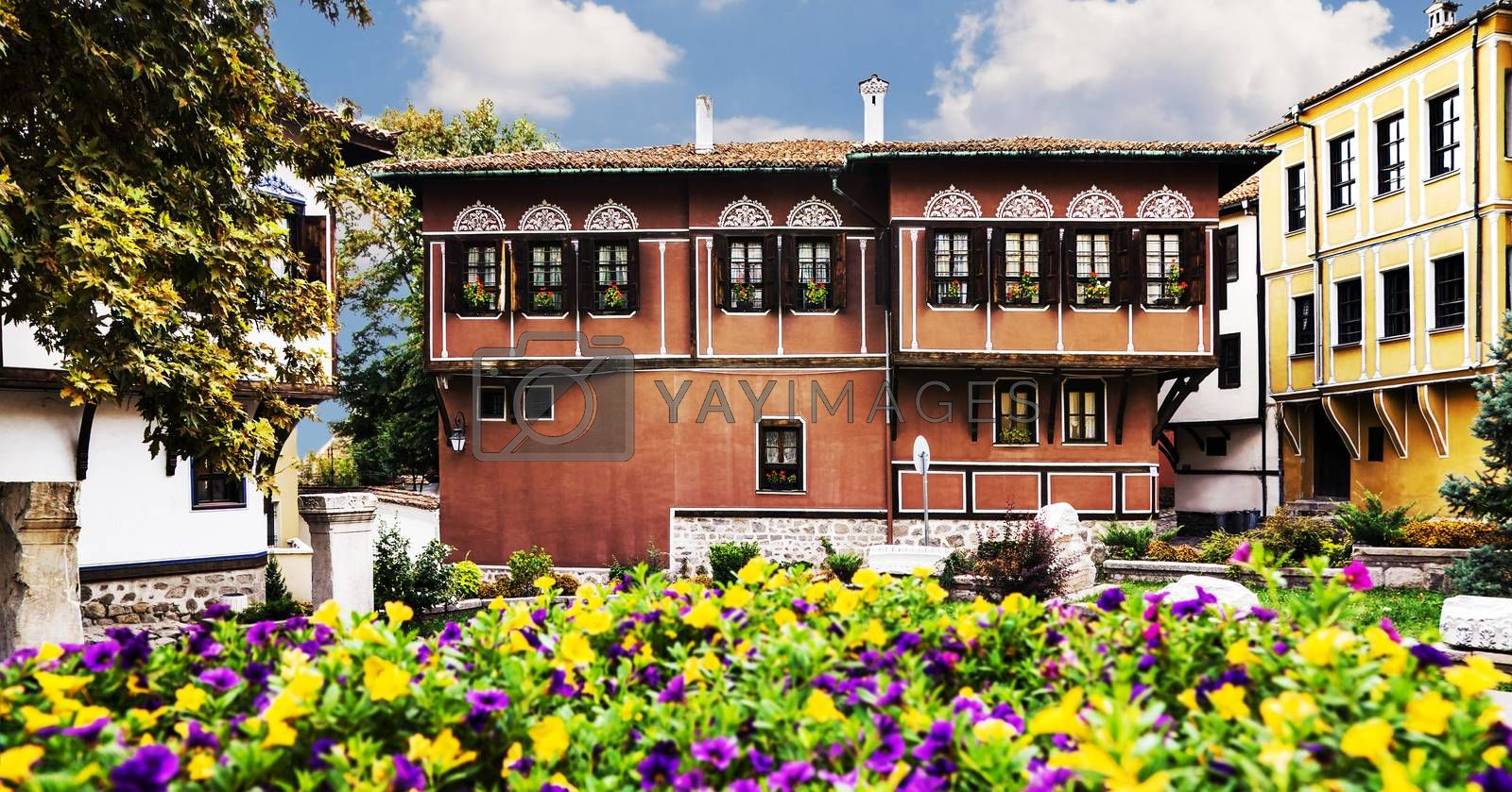 Old houses, cultural heritage in old town Plovdiv, Bulgaria with blooming flowers in foreground.