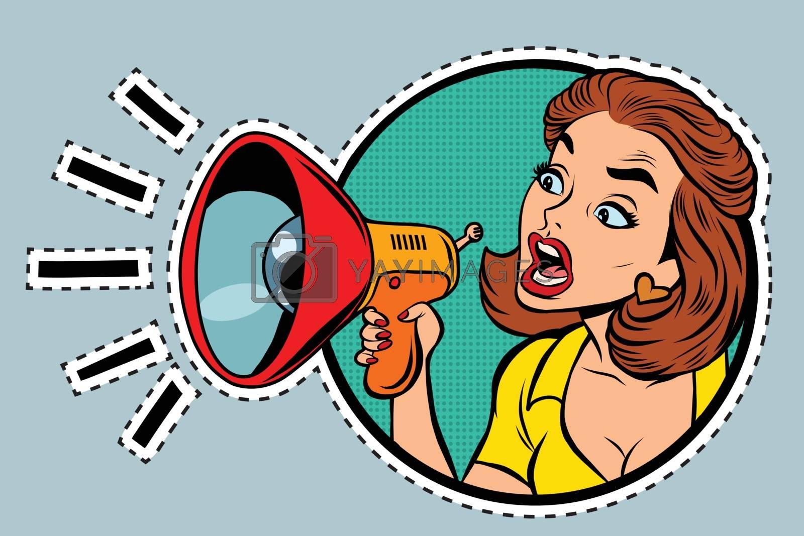 Comic woman agitator shouts into a megaphone, pop art retro comic book illustration. sticker label form