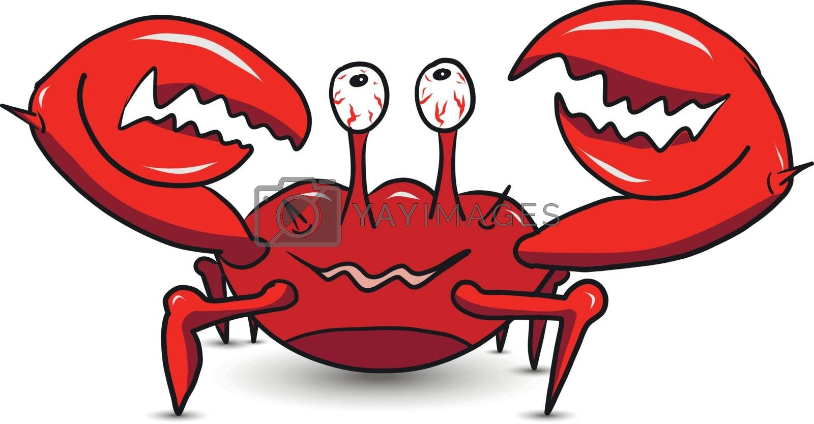 Illustration of a Happy Cartoon Red Crab