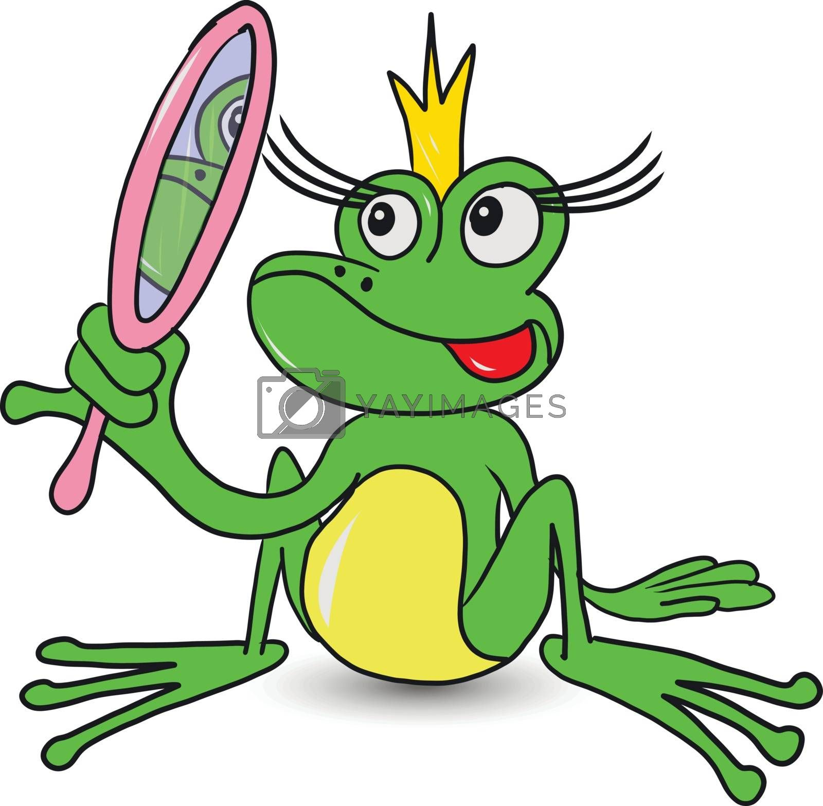 Illustration Frog Fairy Princess with a Mirror